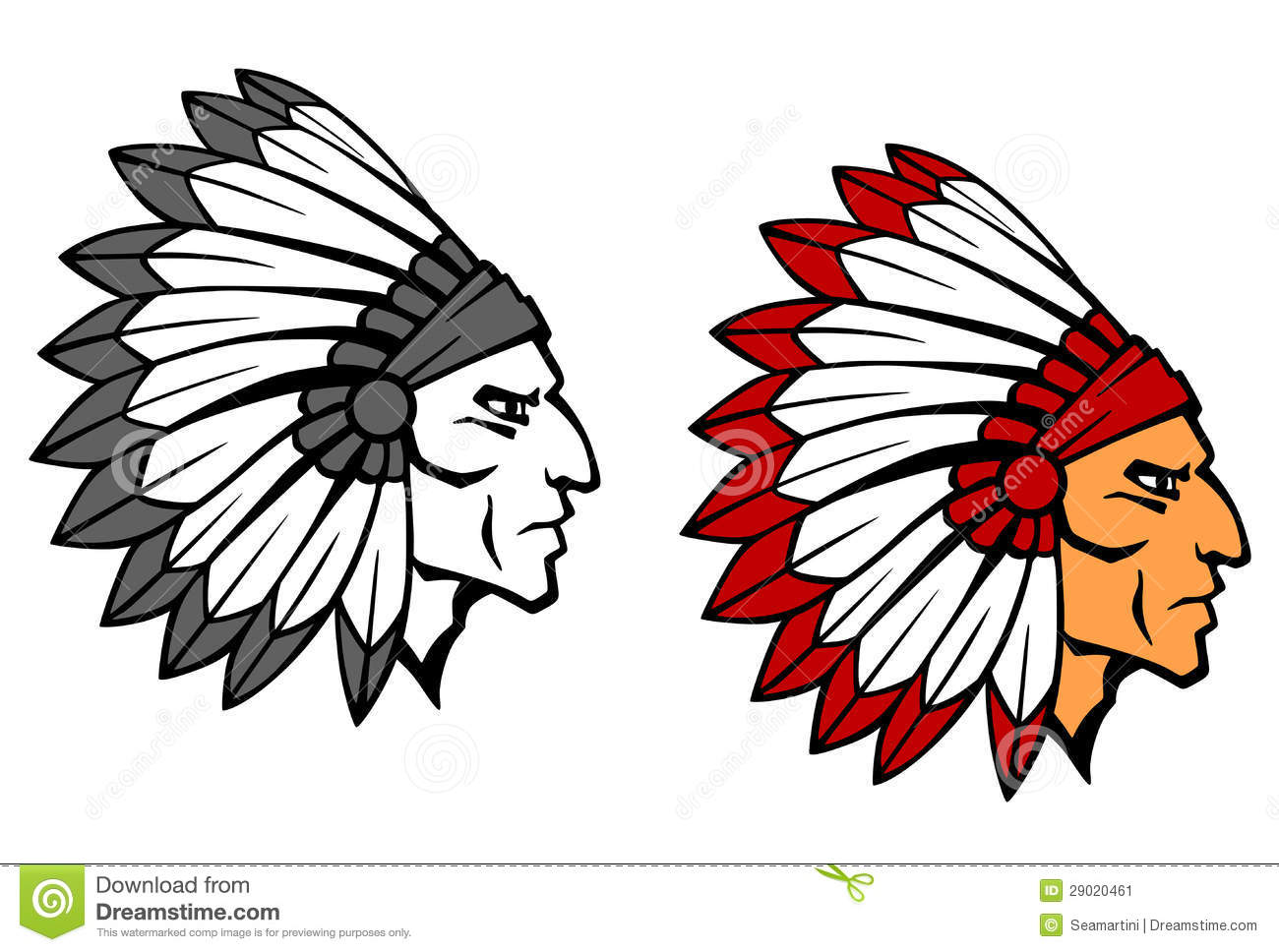 Indian Head Mascot Brave indian warrior head for