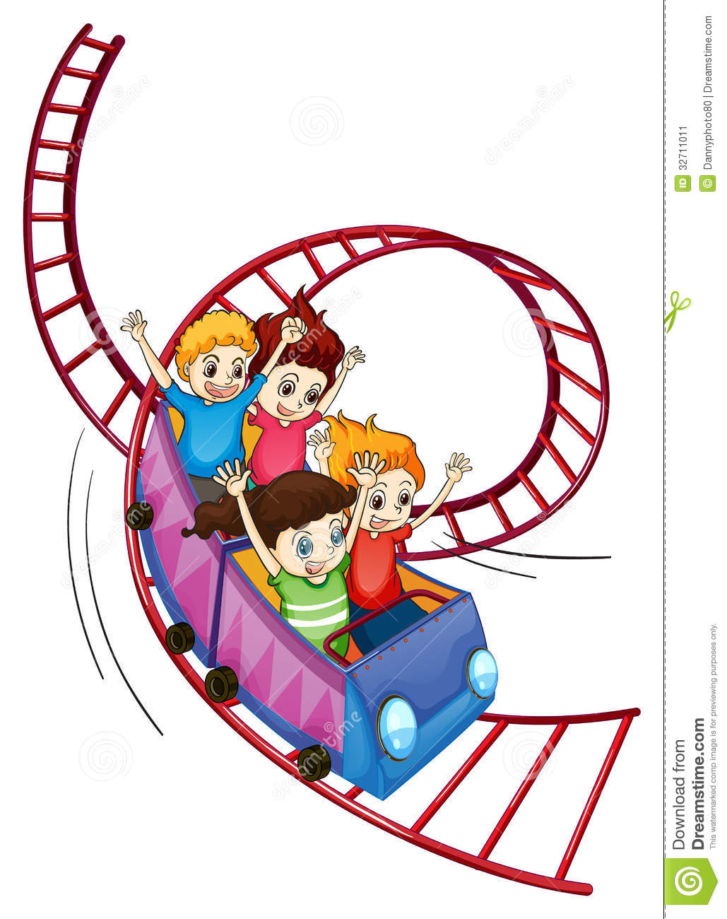 ... of brave kids riding in a roller coaster ride on a white background