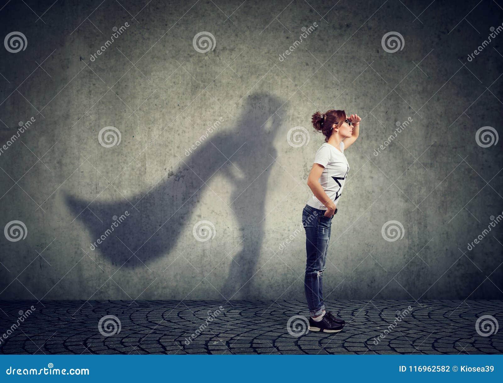 Brave woman posing as a super hero