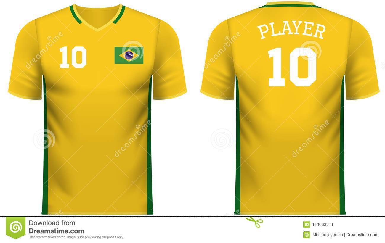 6534accf7f7 Brazil national soccer team shirt in generic country colors for fan apparel.
