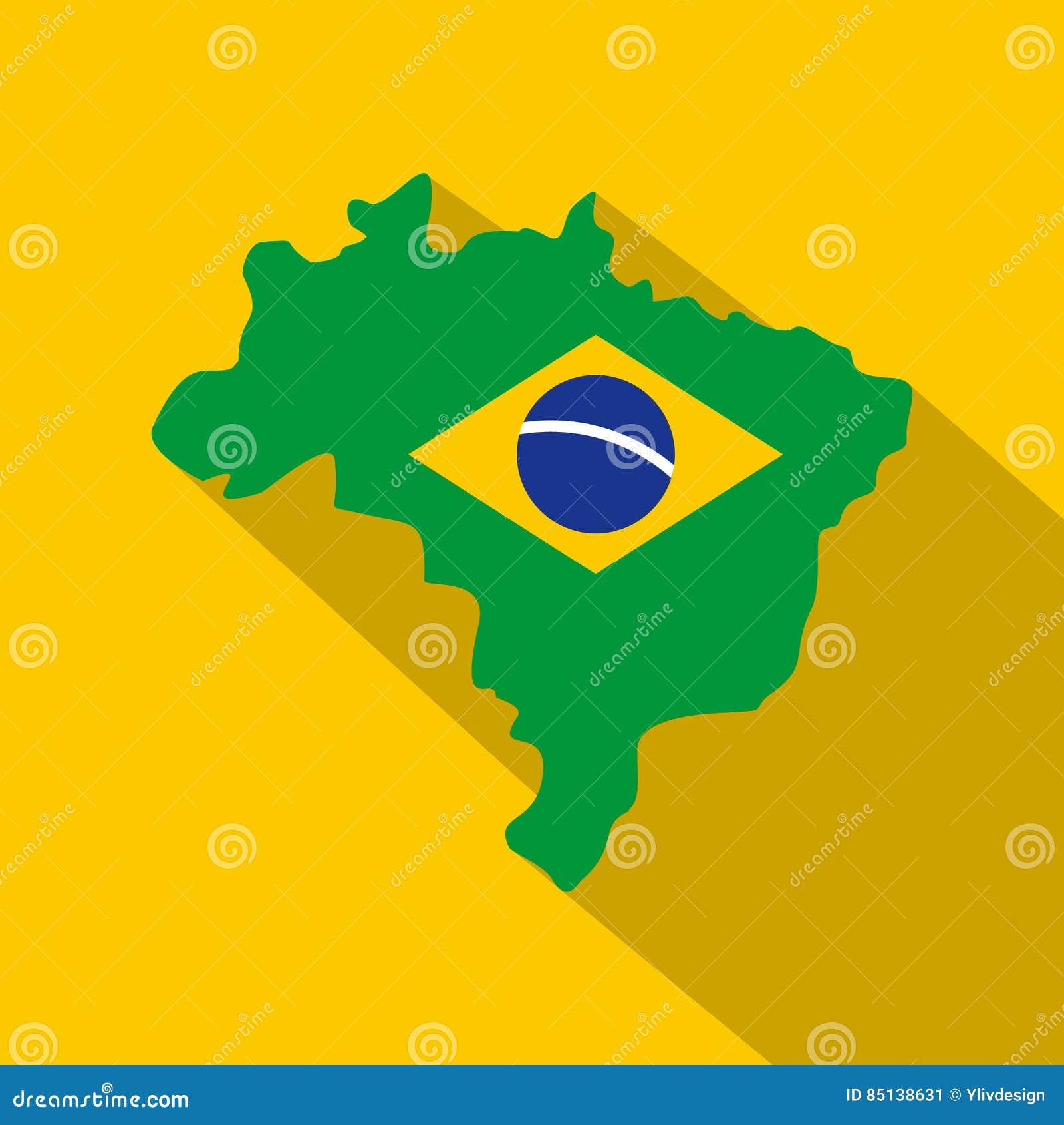 Brazil Flag On Brazilian Map, Icon Flat Style Stock Vector ...