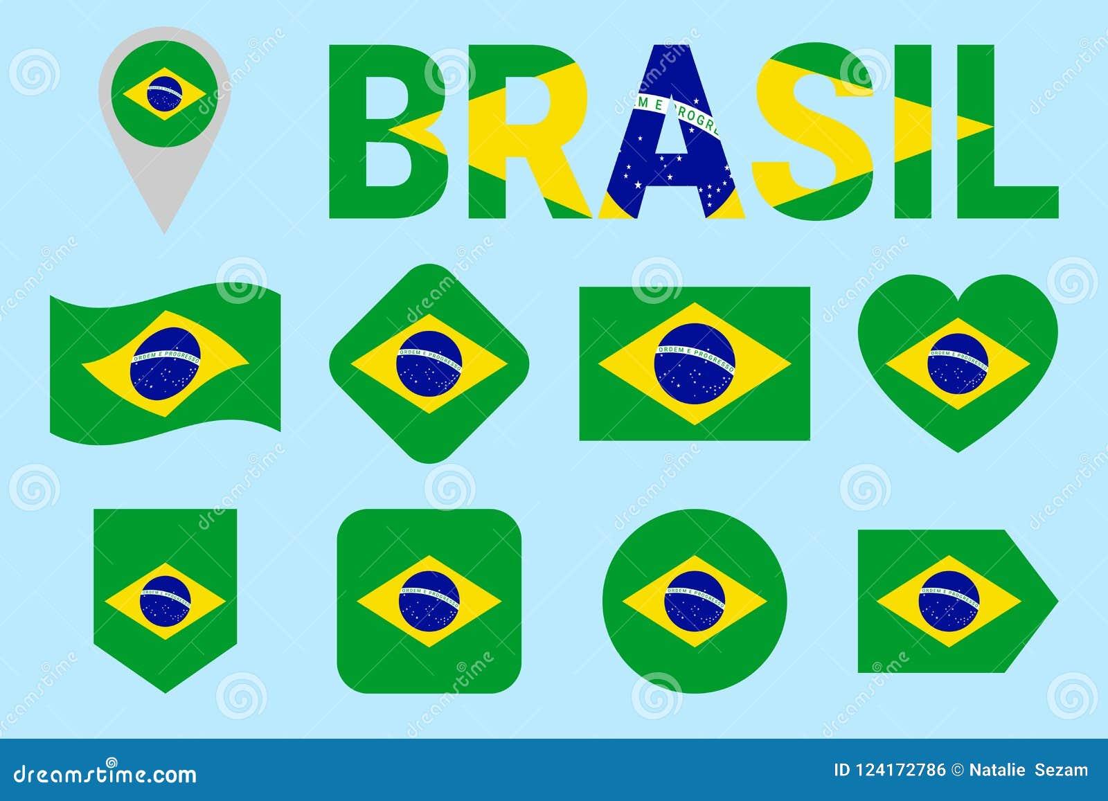 Brazil Flag Collection  Vector Brazilian Flags Set  Flat