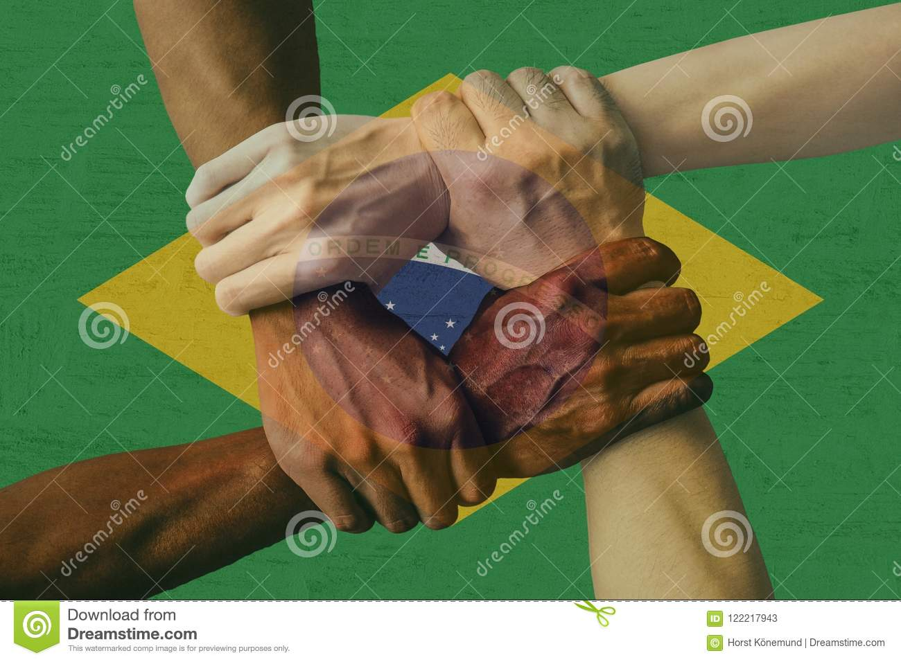 Brazil flag multicultural group of young people integration diversity