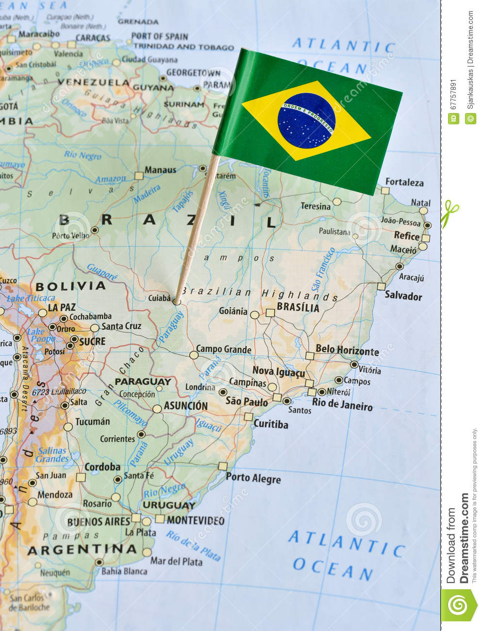 Brazil Flag Pin On Map Stock Image Image Of Capital - Campinas map