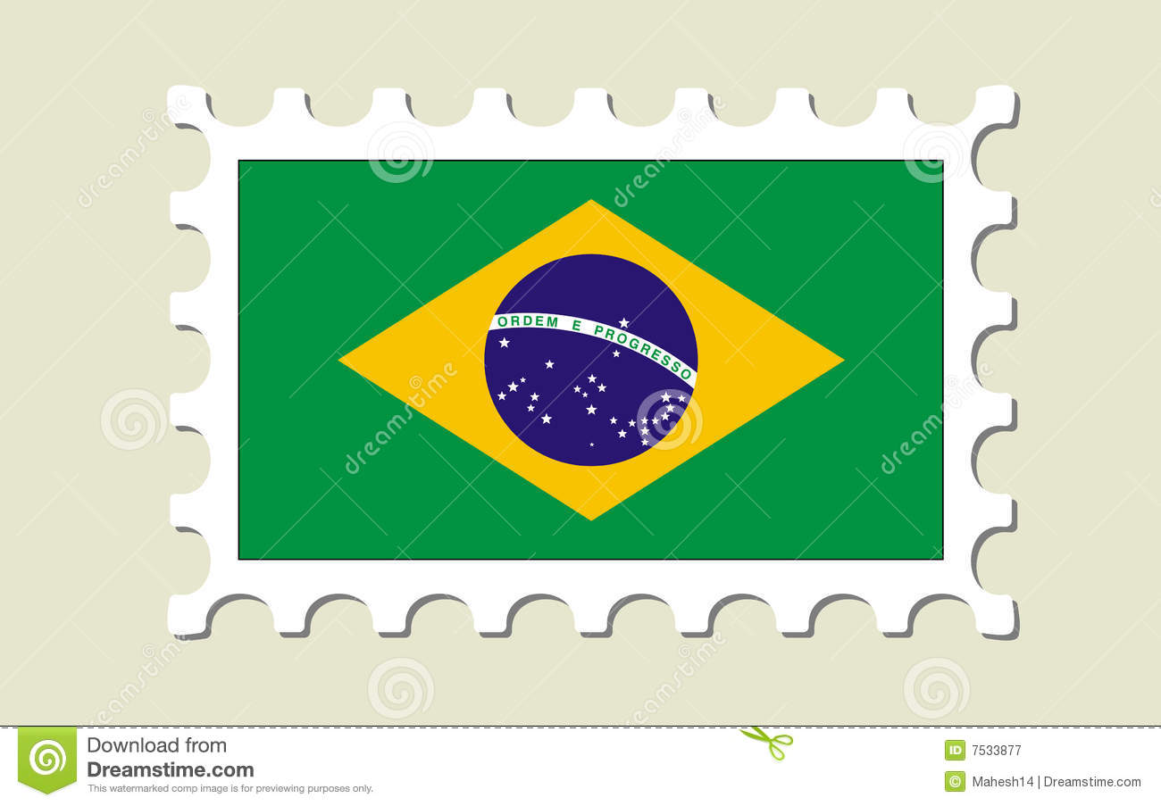 Brazil Flag Stamp Royalty Free Stock Photography Image 7533877