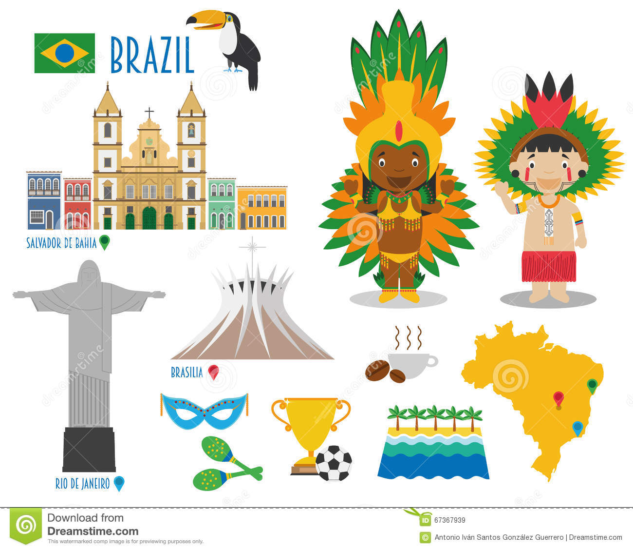 Brazil Flat Icon Set Travel and tourism concept.