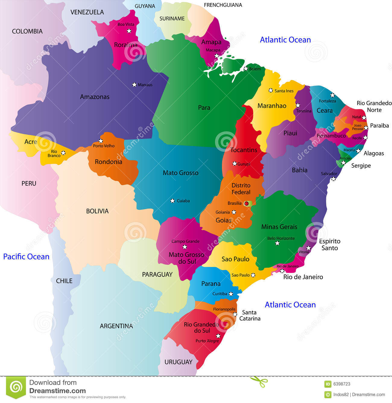 Brazil Map Stock Vector Illustration Of Country Colombia 6398723