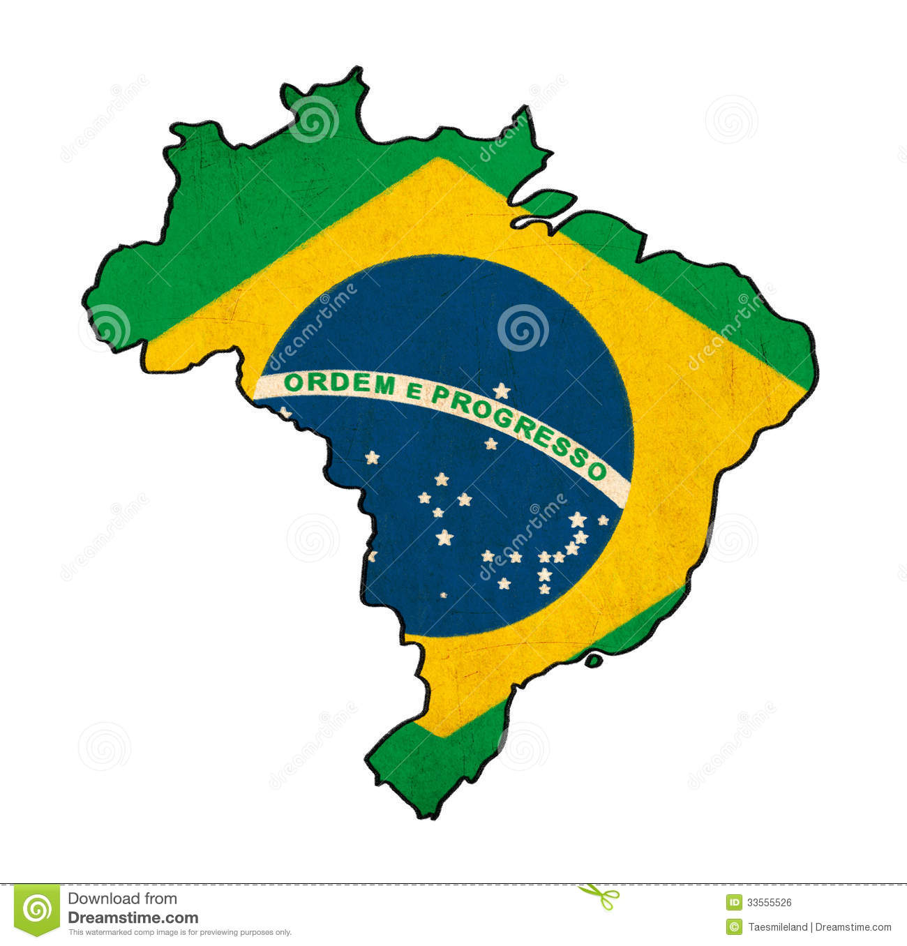 Brazil Map On Brazil Flag Drawing Stock Illustration - Illustration ...
