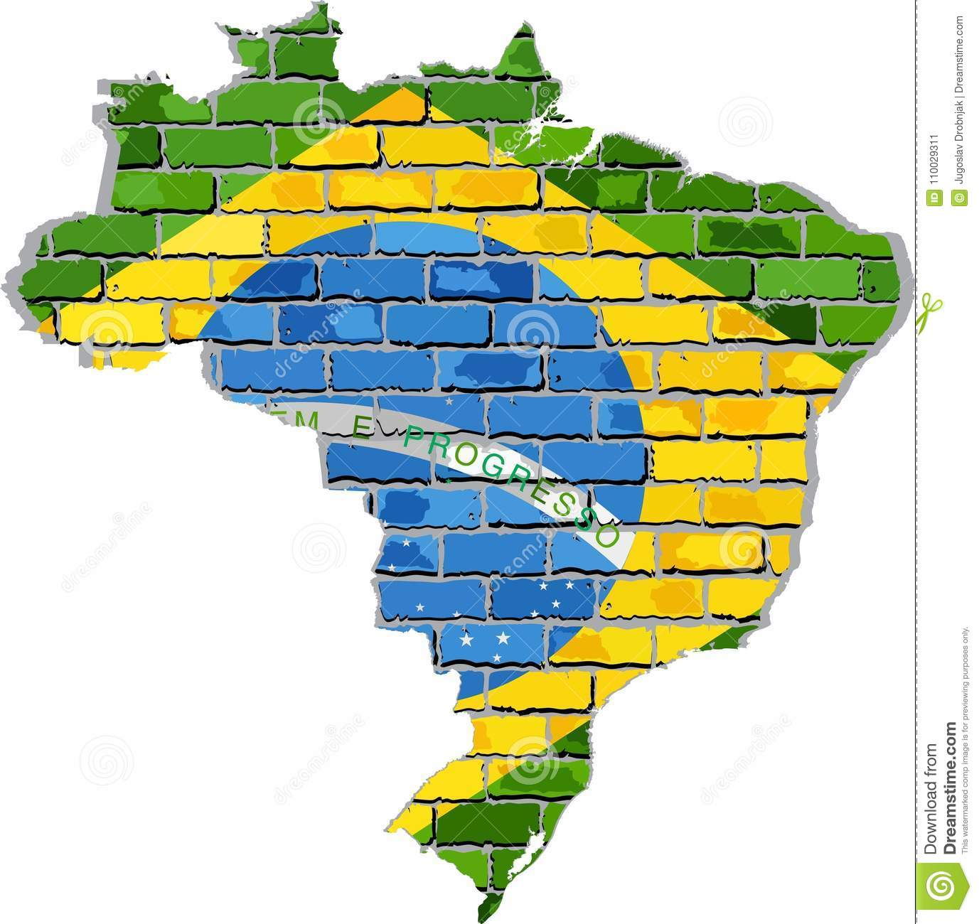 Brazil map on a brick wall stock vector. Illustration of cartography ...