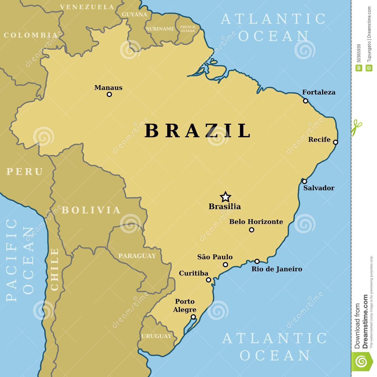 Map of Brazil. Country outline with 10 largest cities including