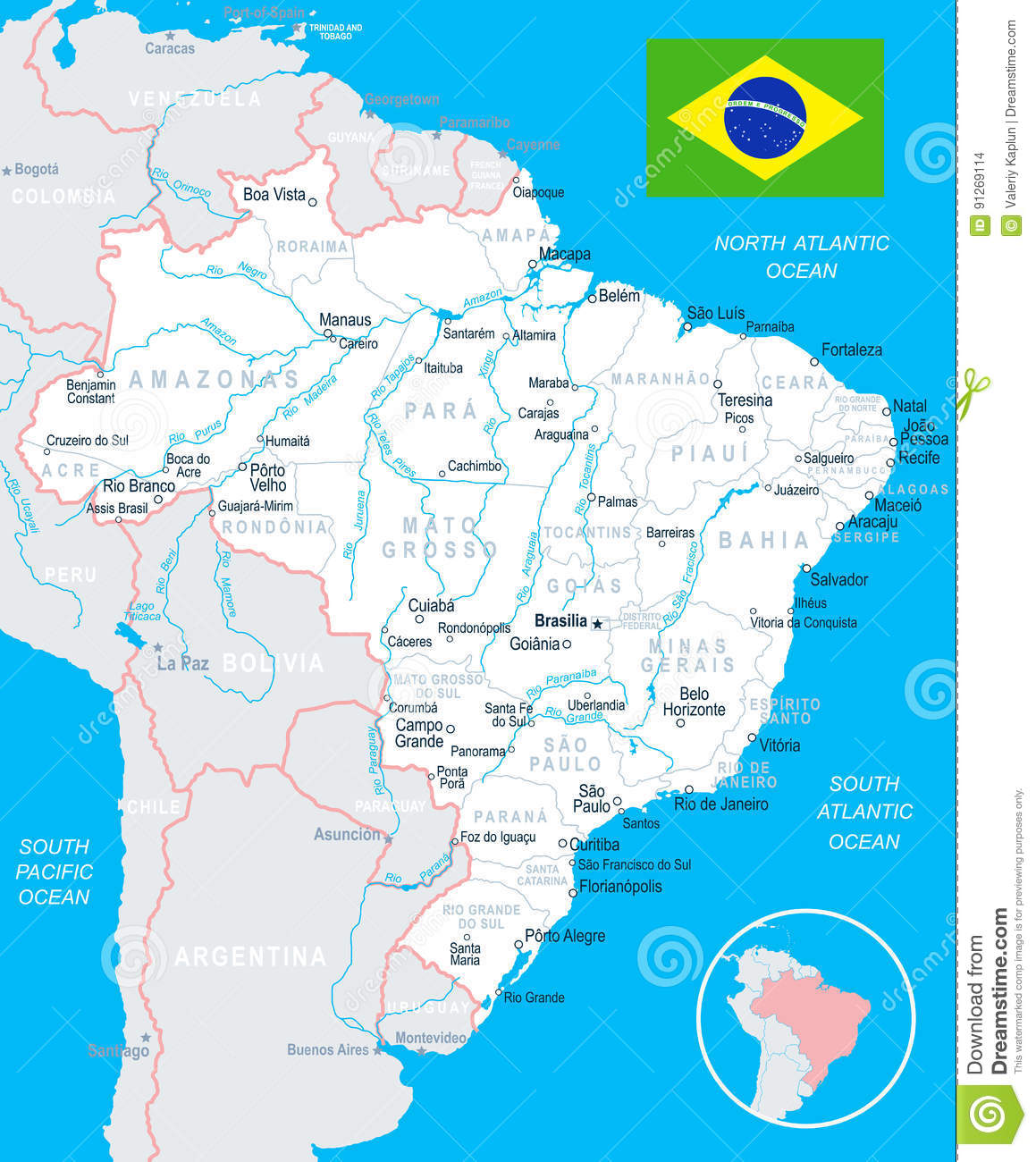 Brazil Map And Flag Illustration Stock Illustration