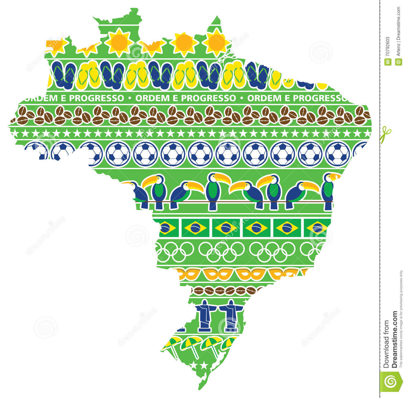 Brazil Map With Icons Stock Illustration Image - Brazil map illustration