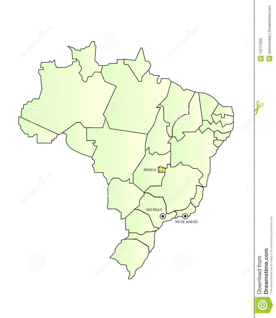 Brazil Map Outlined With Cities Stock Vector - Illustration of ...