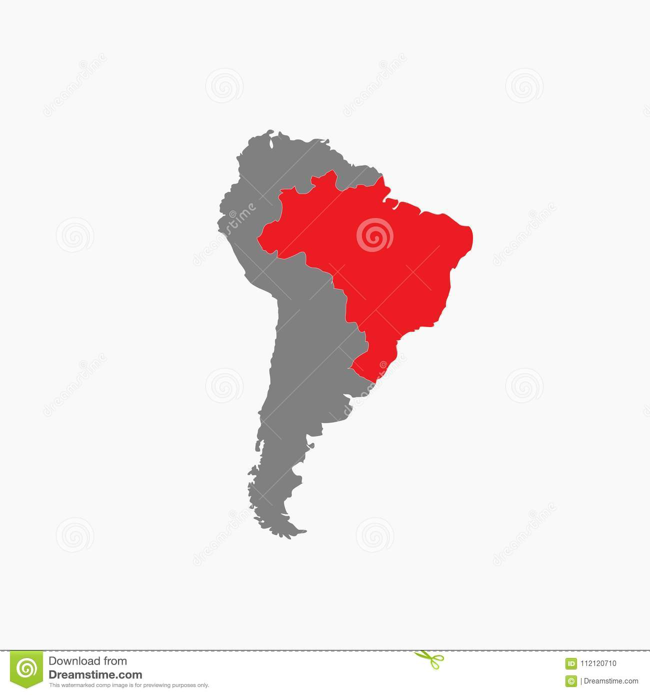 Picture of: Brazil Map South America Red Vektor Stock Illustration Illustration Of Europe Isolated 112120710
