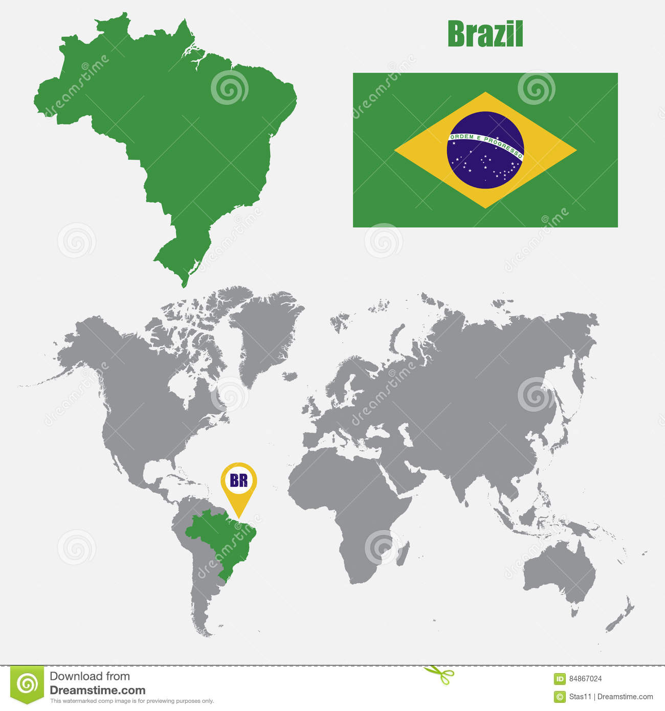 Brazil Map On A World Map With Flag And Map Pointer Vector