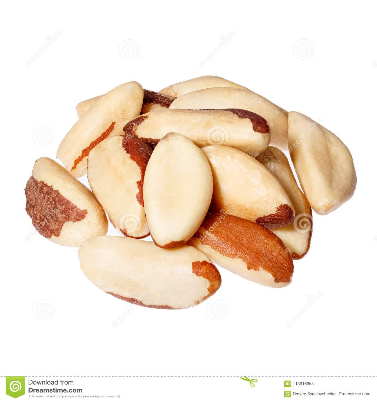 Brazil nuts on white background close-up.