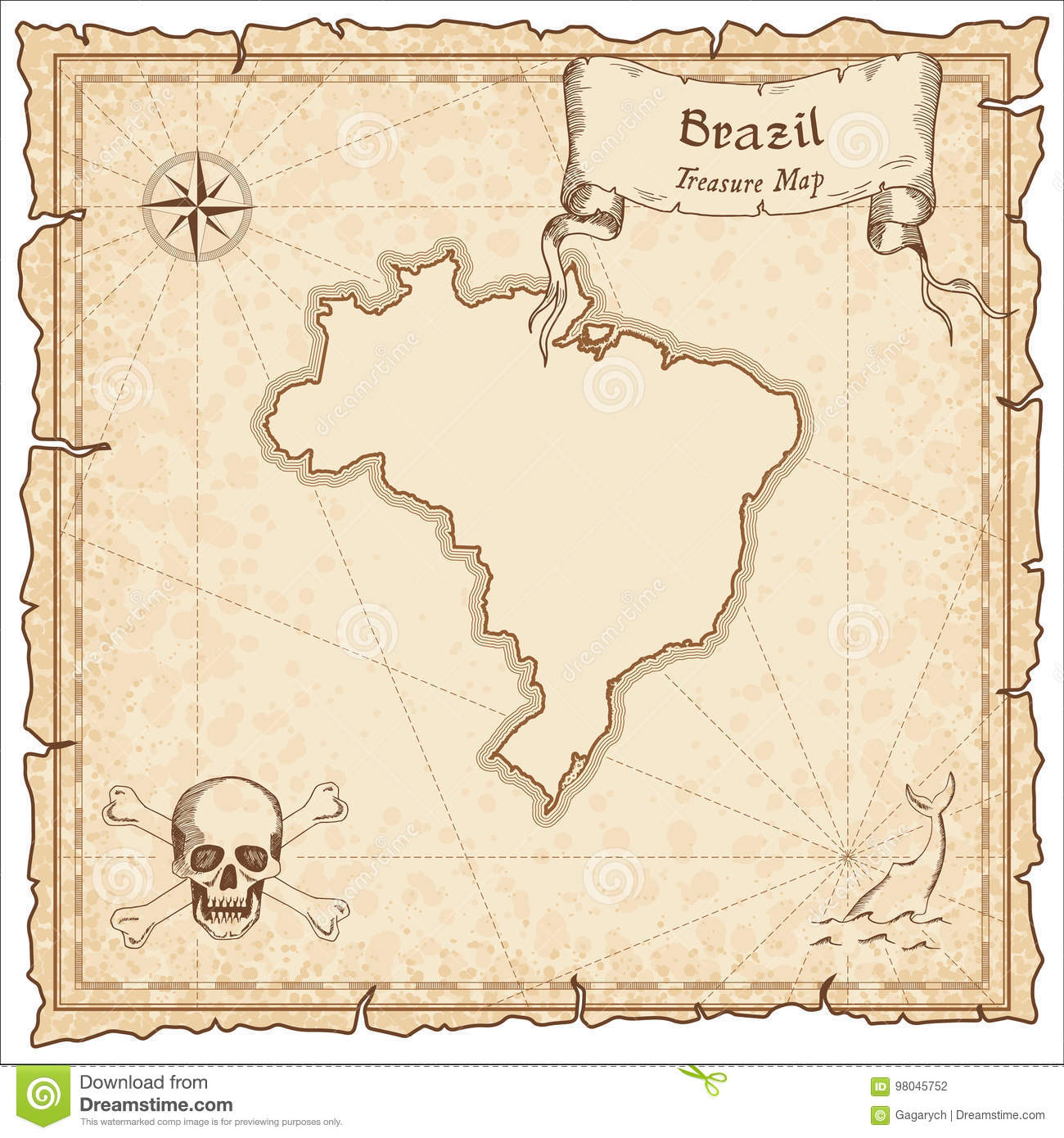 Brazil old pirate map. stock vector. Illustration of island - 98045752
