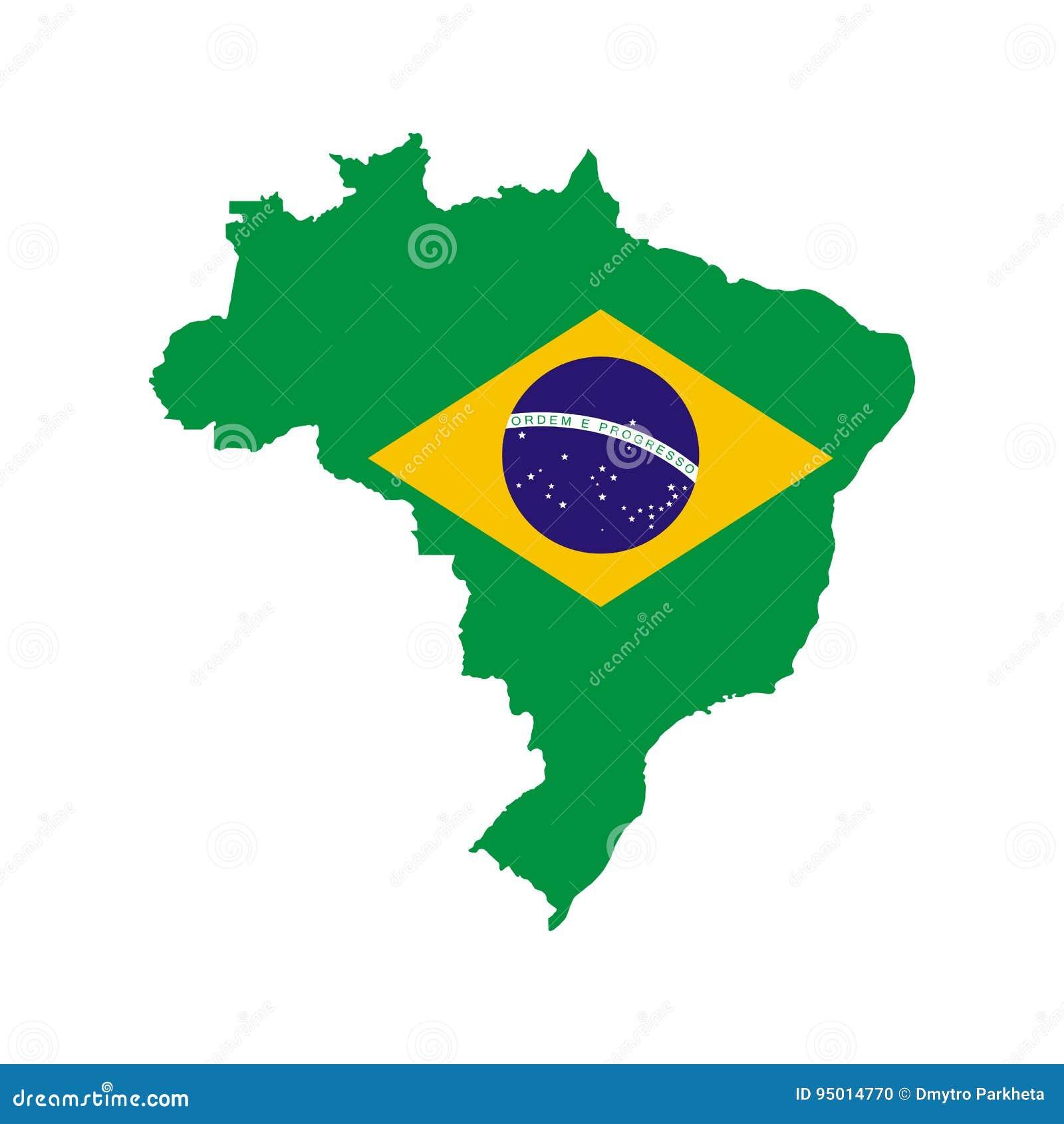 Brazil Outline And Flag Stock Vector Illustration Of World 95014770