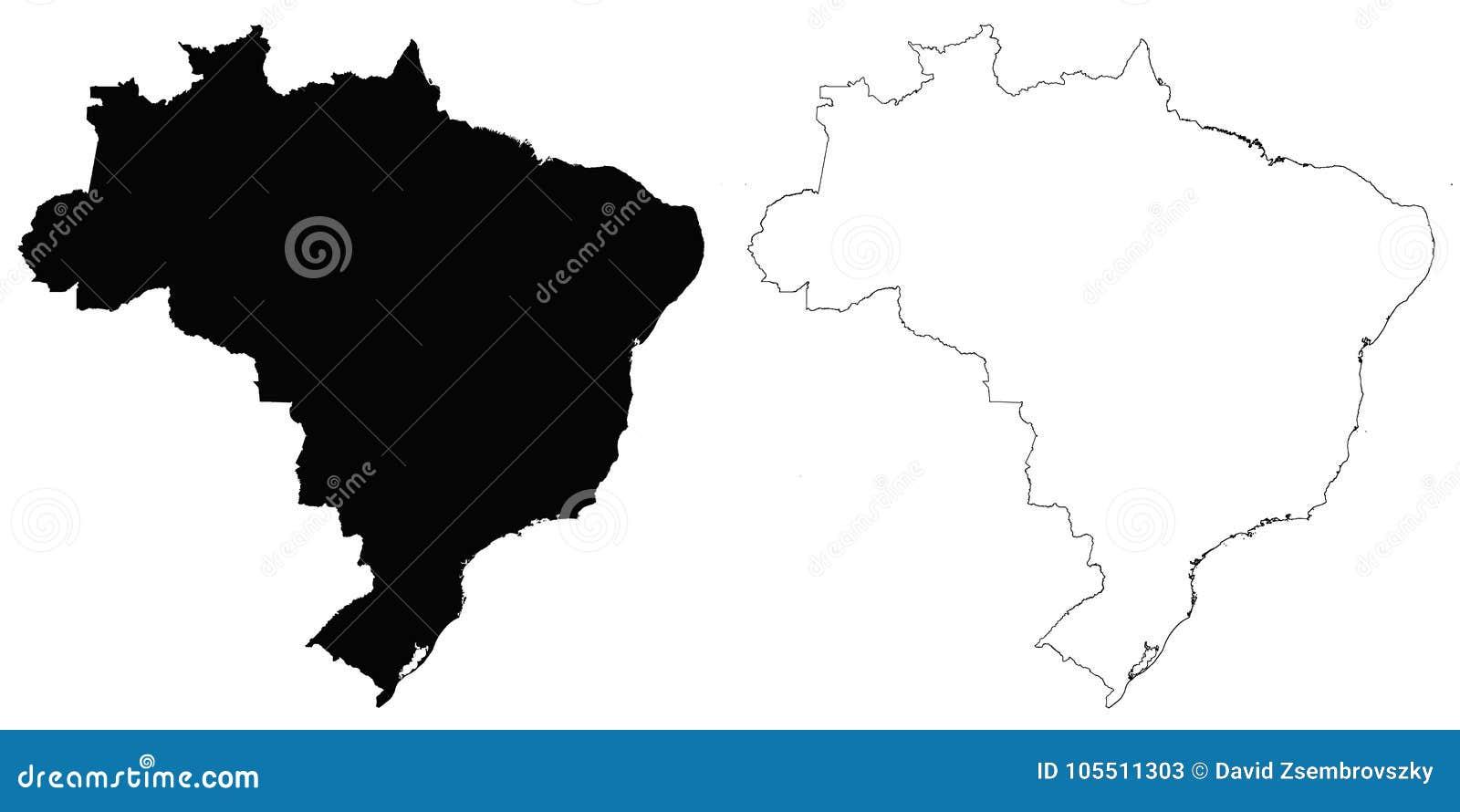 Brazil Outline Map Stock Vector Illustration Of Brazilian 105511303