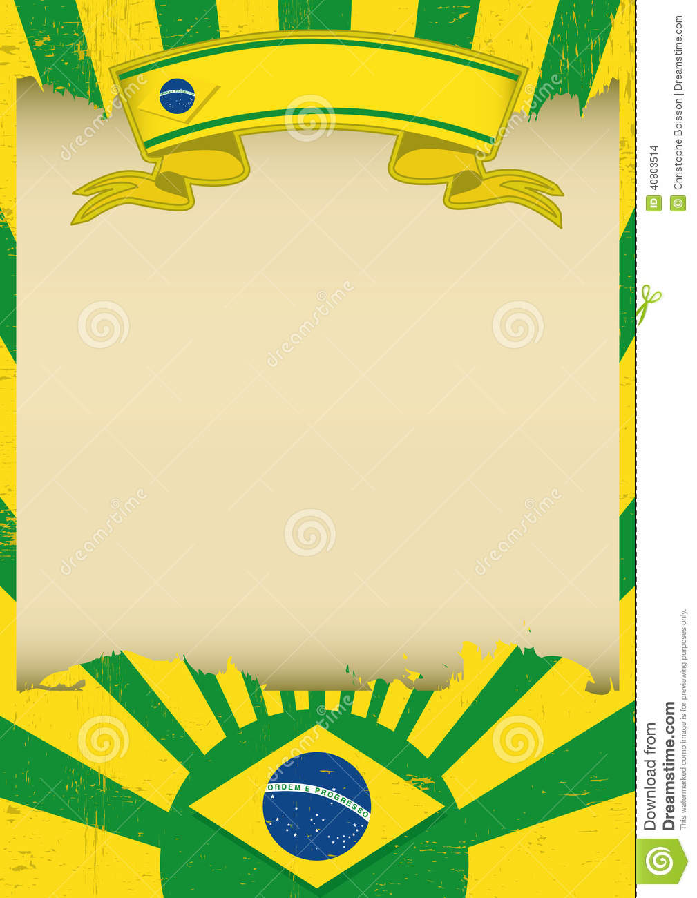 Brazil Parchment Background Stock Vector