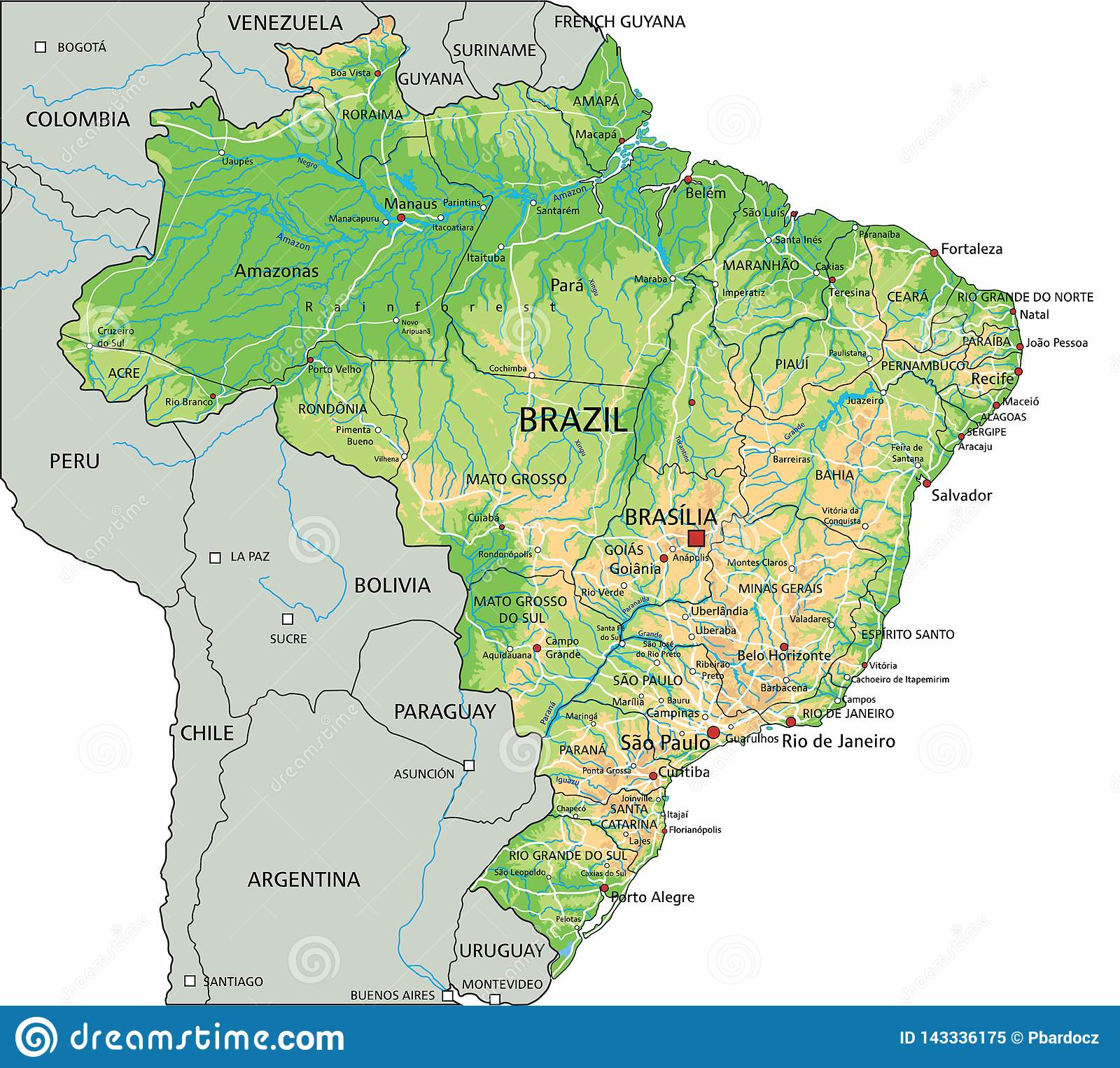Image of: High Detailed Brazil Physical Map With Labeling Stock Vector Illustration Of Label Geography 143336175