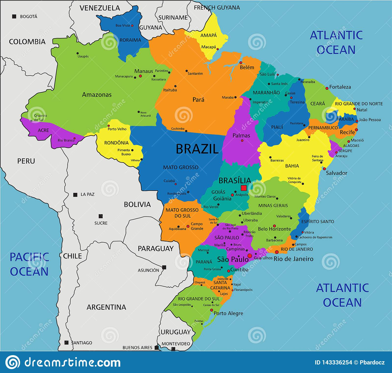 Image of: Colorful Brazil Political Map With Clearly Labeled Separated Layers Stock Vector Illustration Of American Colored 143336254
