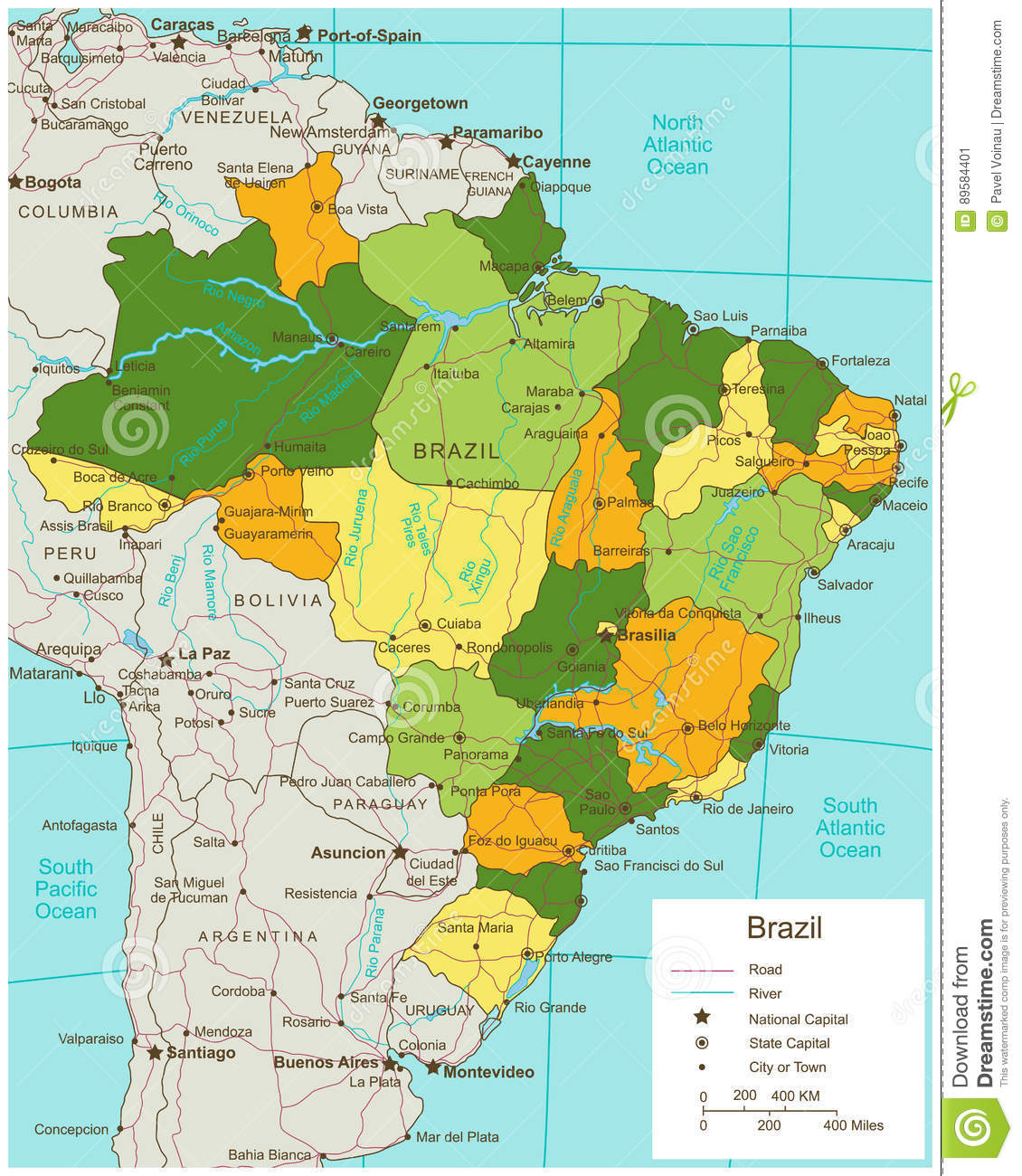 Brazil Political Map With Selectable Territories Vector Stock