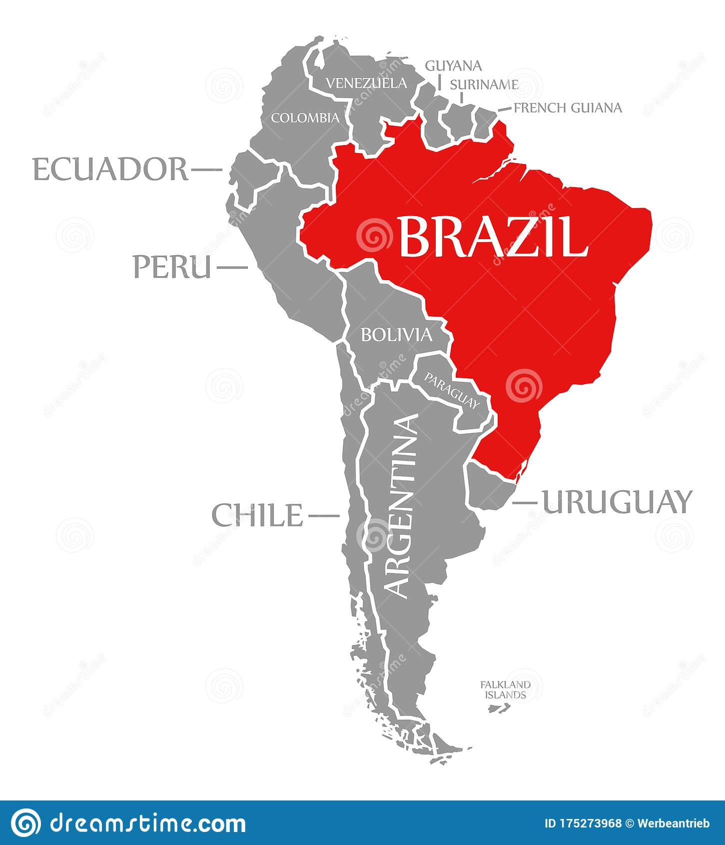 Brazil Red Highlighted In Continent Map Of South America Stock