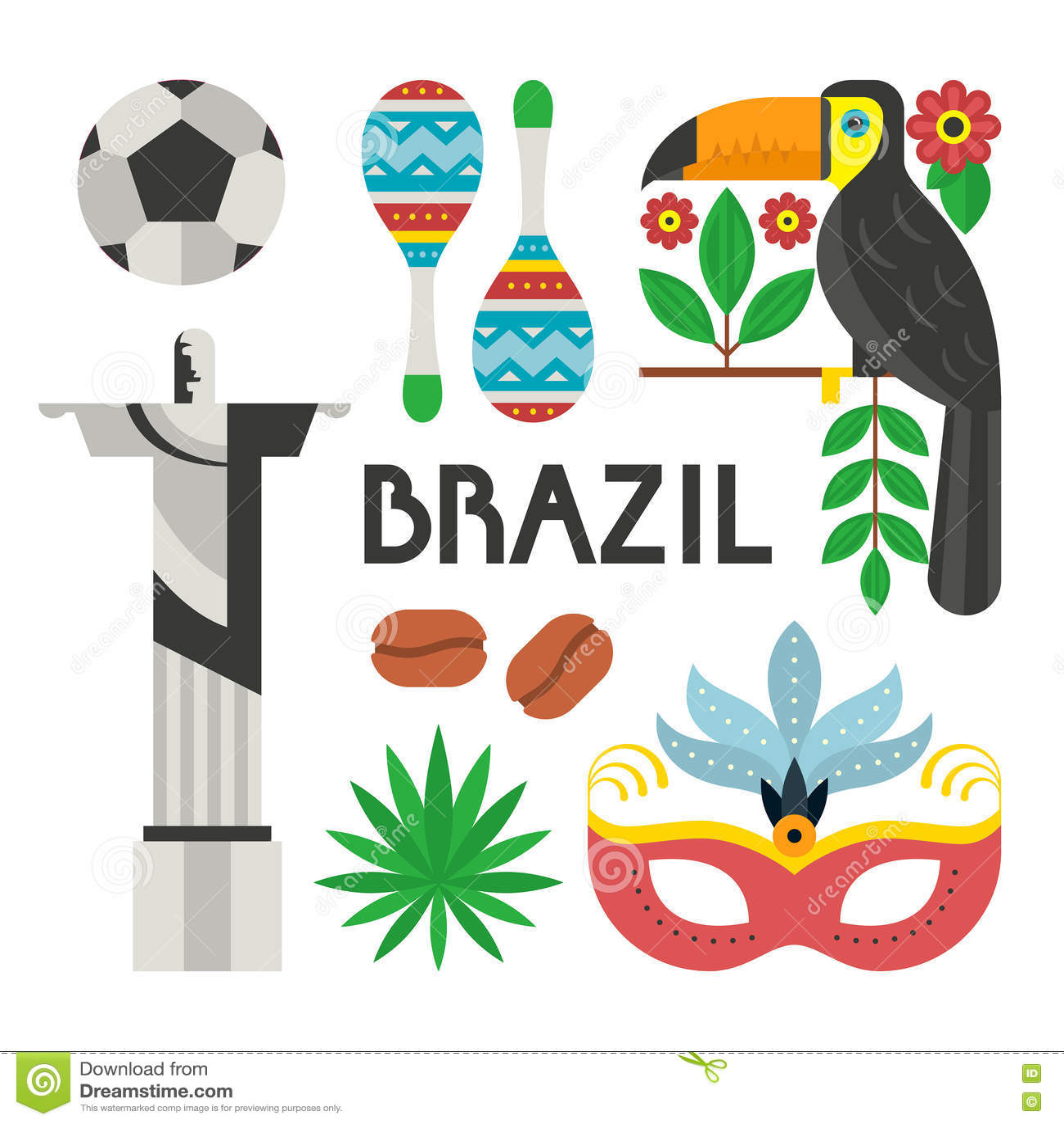 Brazil Symbols Stock Vector Image 72688160