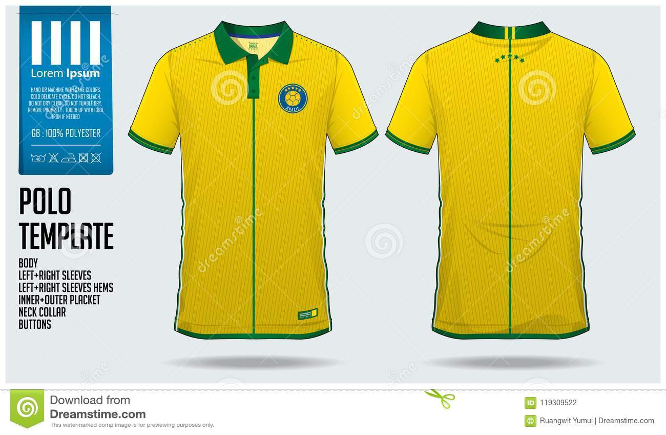 e76f0929f Brazil Team Polo T-shirt Sport Template Design For Soccer Jersey ...