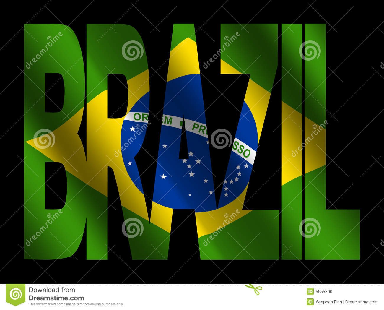 Brazil Text With Brazilian Flag Stock Photo  Image: 5955800