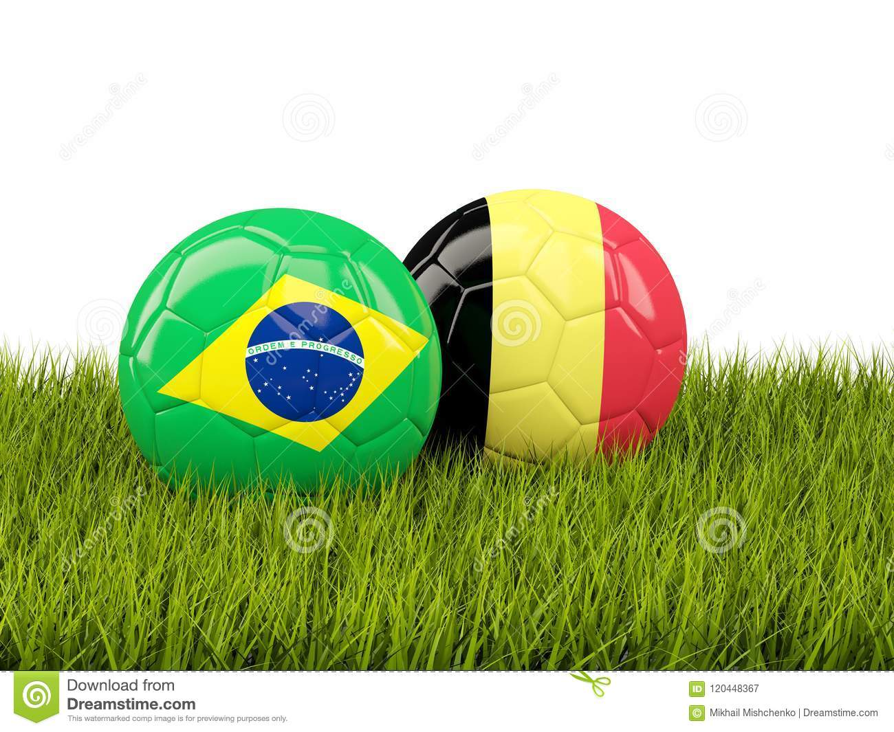 c65ac2d16 Brazil Vs Belgium. Soccer Concept. Footballs With Flags On Green ...