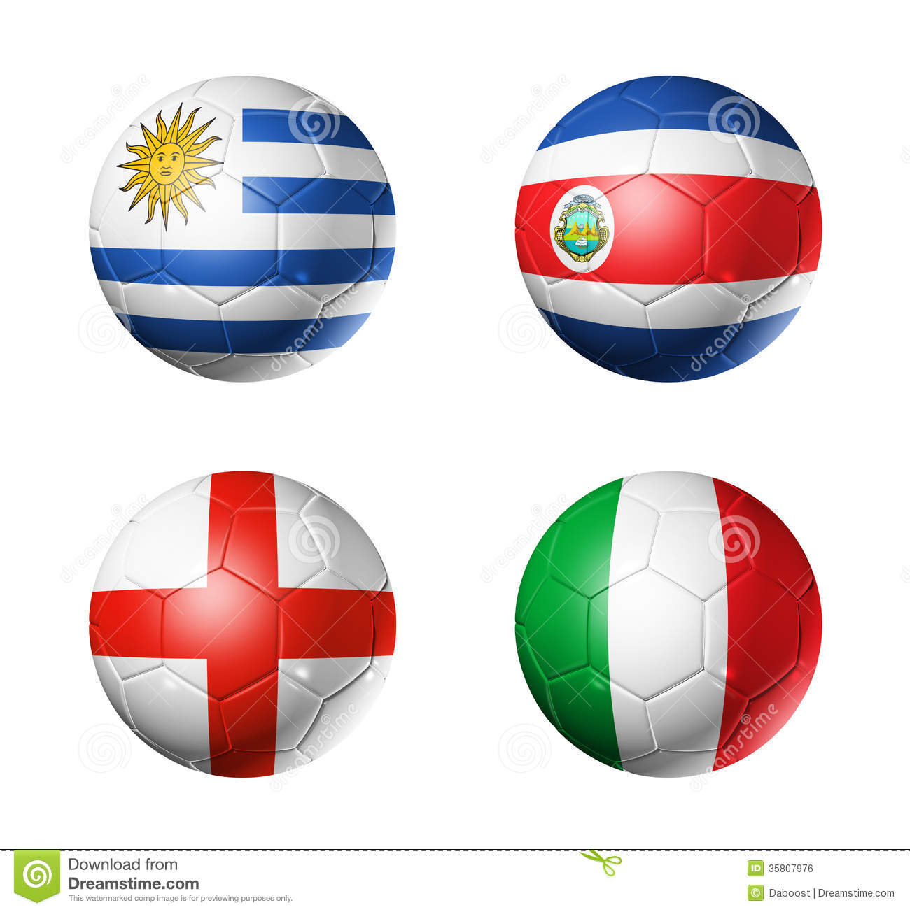 Brazil world cup 2014 group D flags on soccer ball