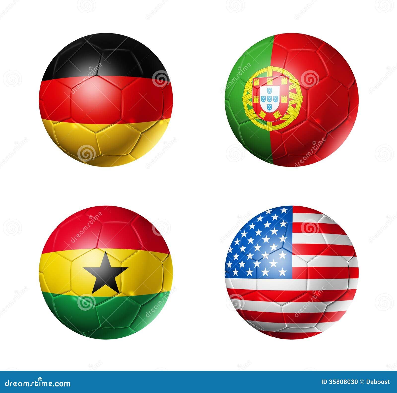 Brazil world cup 2014 group G flags on soccer ball