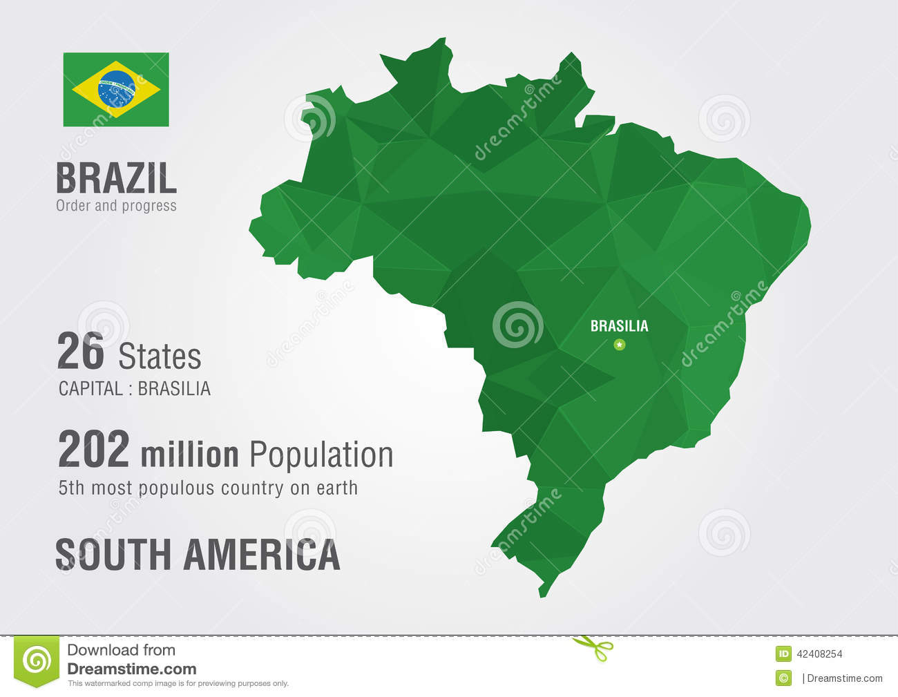 Brazil World Map With A Pixel Diamond Texture Stock Vector