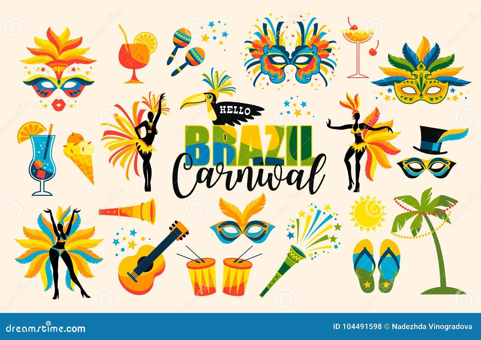 Braziliaans Carnaval Reeks pictogrammen Vector