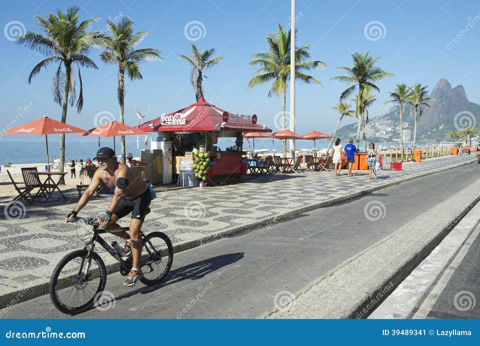 Brazilian Bike Rider Ipanema Rio Editorial Photo