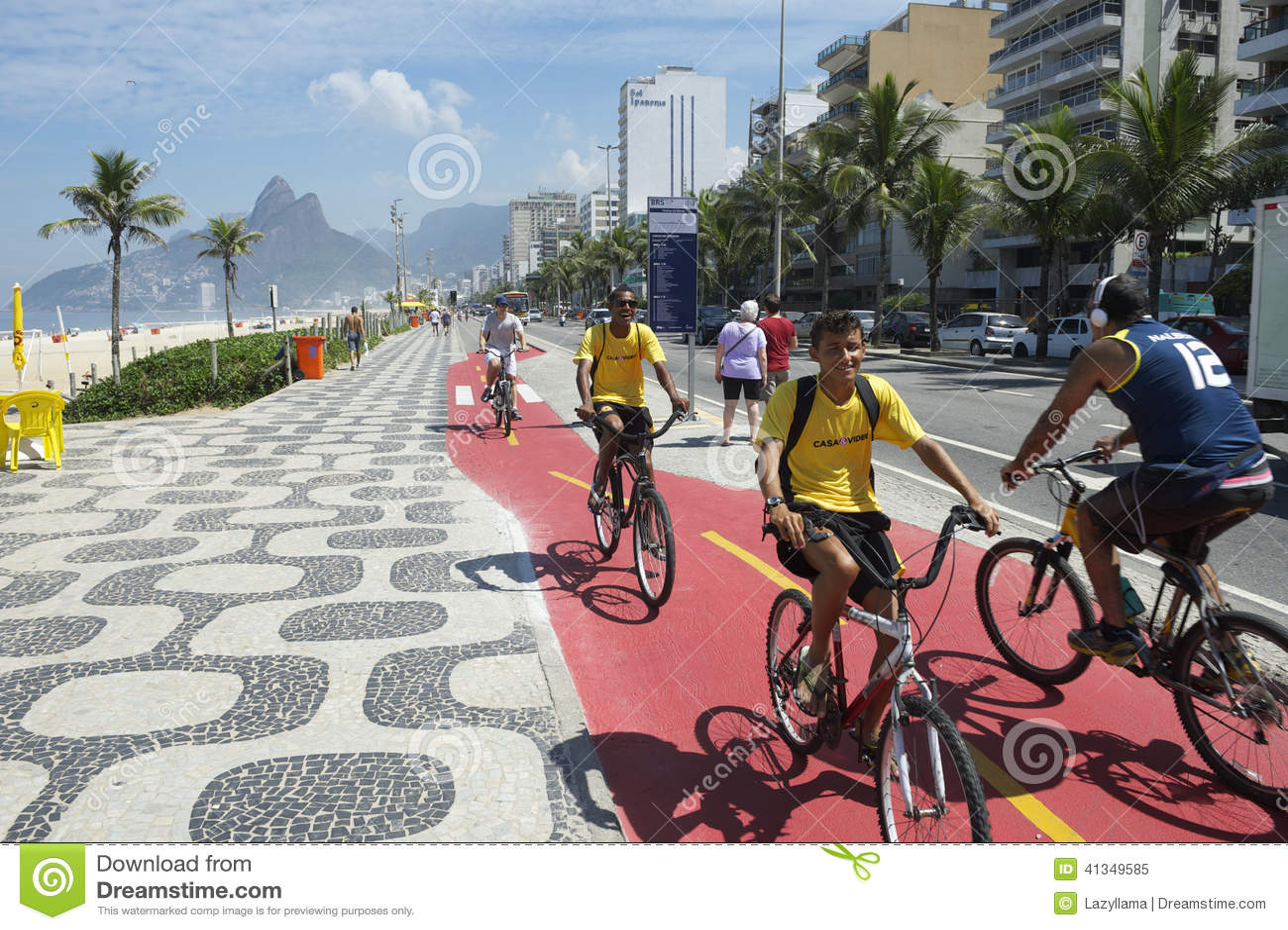 Brazilian Bike Riders Ipanema Rio Editorial Image