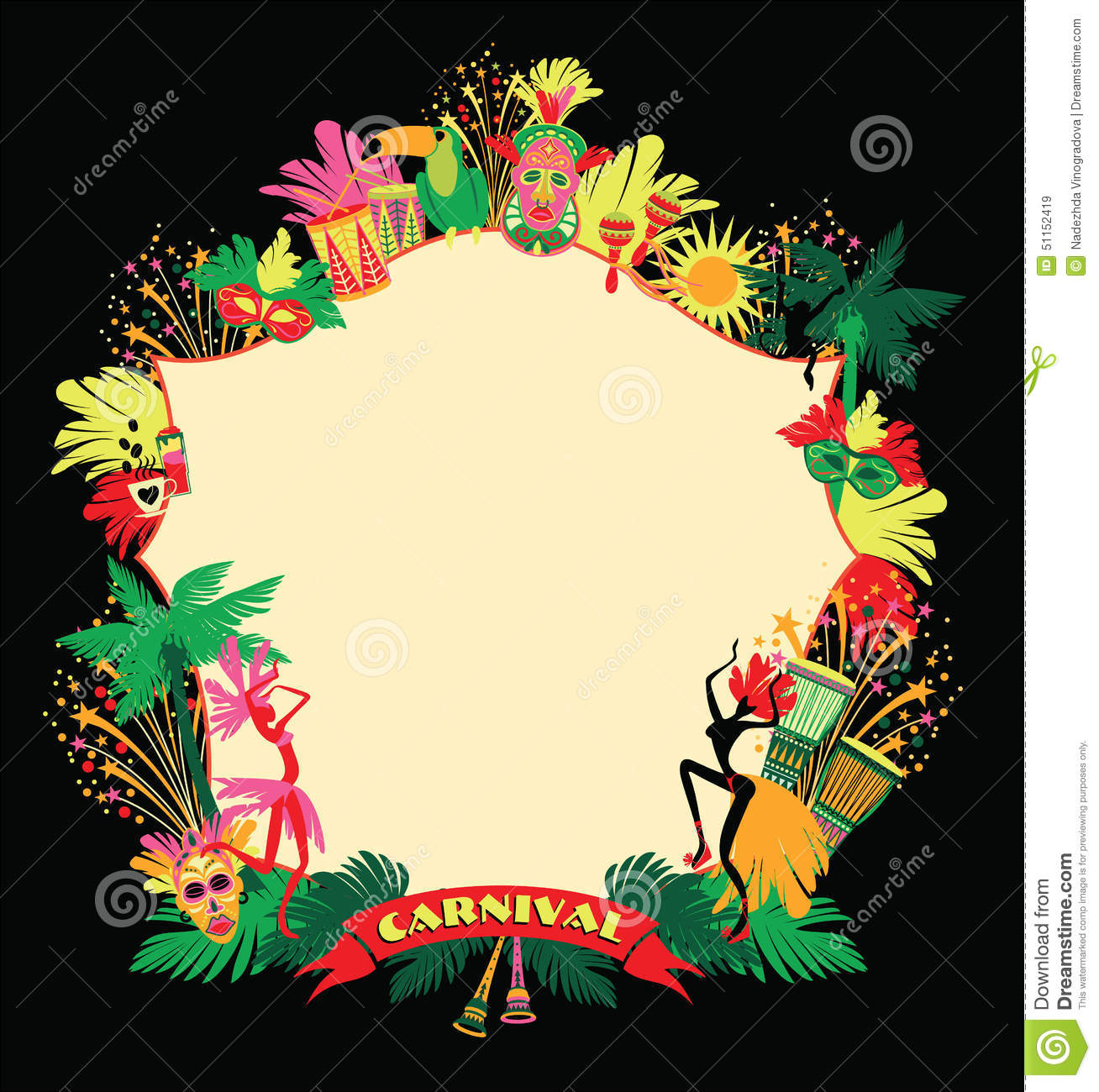 Brazilian Carnival. Vector Colorful Background. Stock