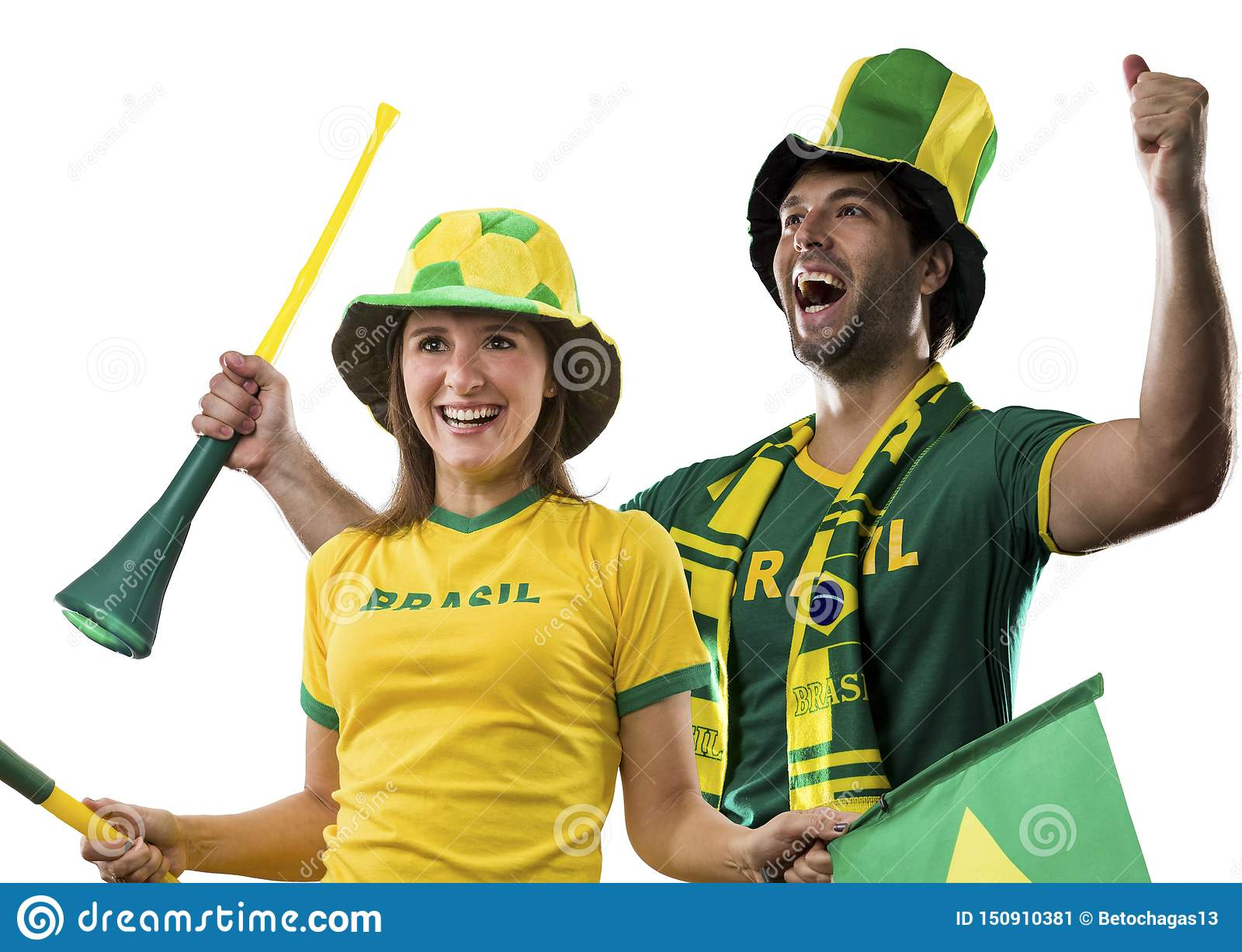 Brazilian couple Celebrating on a white background .