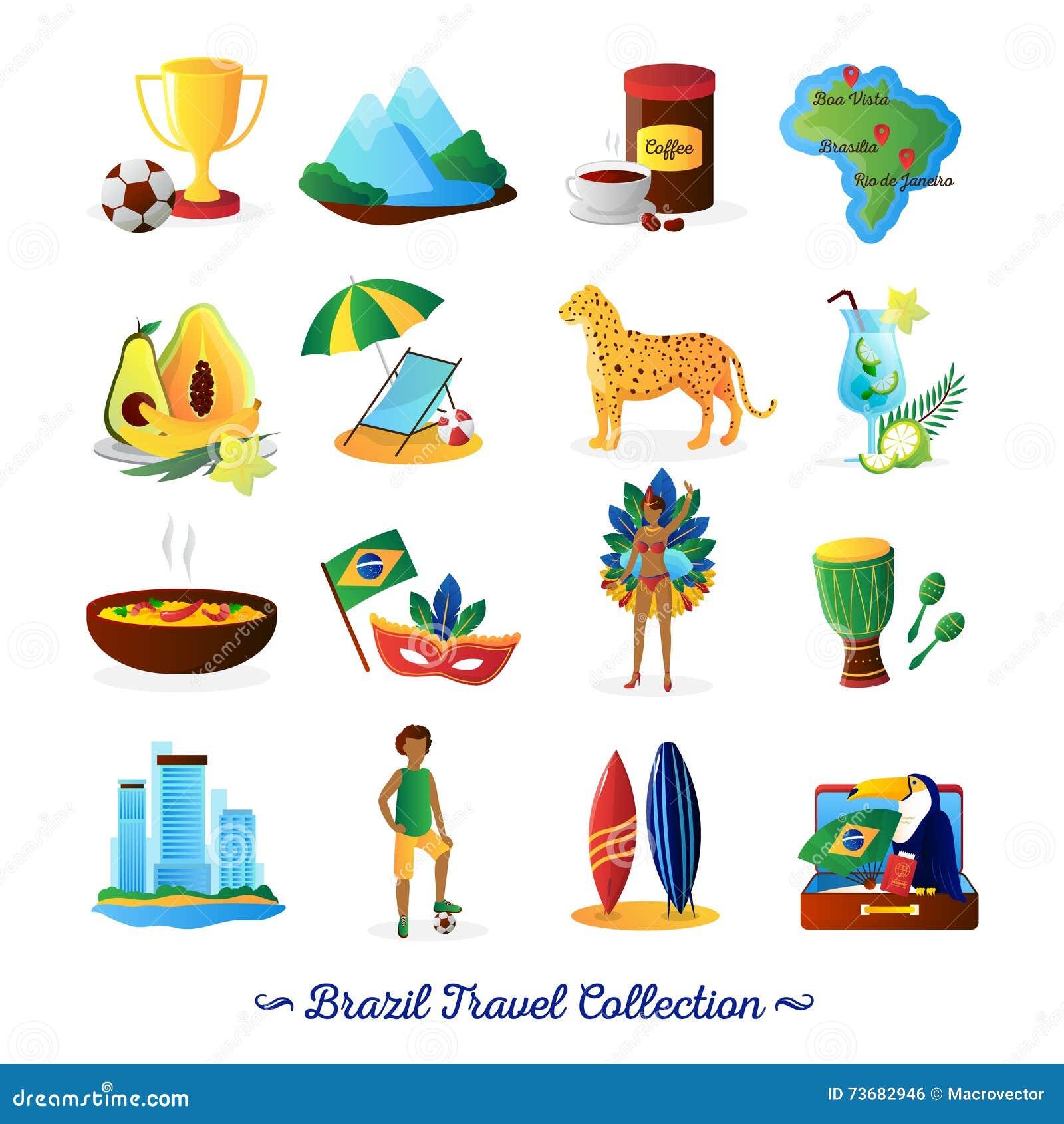 Brazilian Culture Symbols Flat Icons Set Stock Vector - Illustration