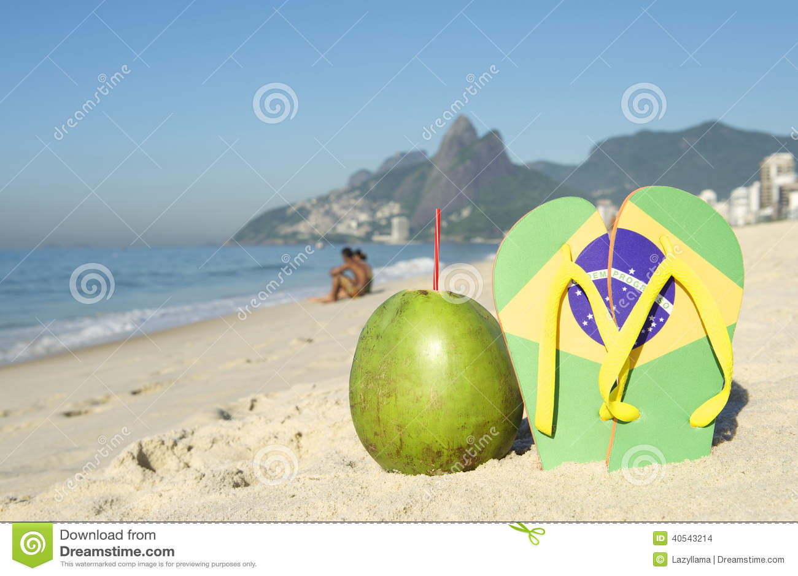 c390c91e625 Brazilian Flag Flip Flops And Coconut Ipanema Beach Rio Brazil Stock ...