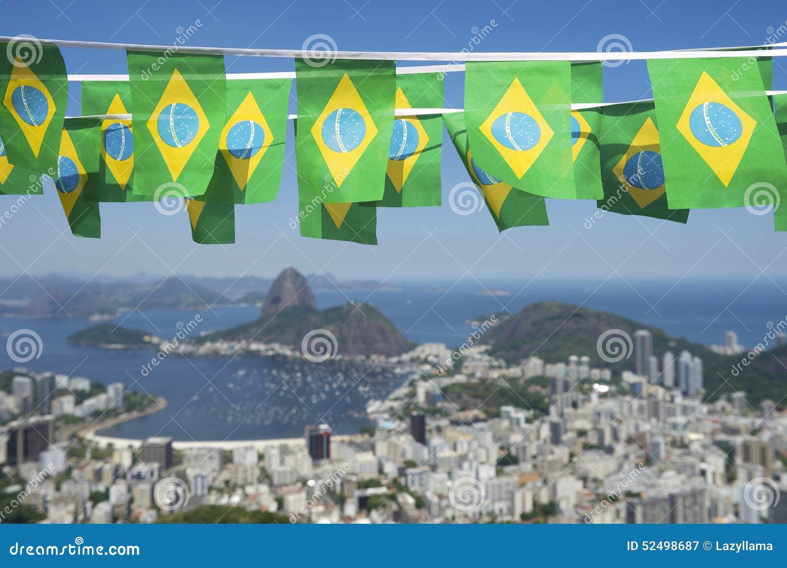 Brazilian Flags Rio de Janeiro Brazil Skyline