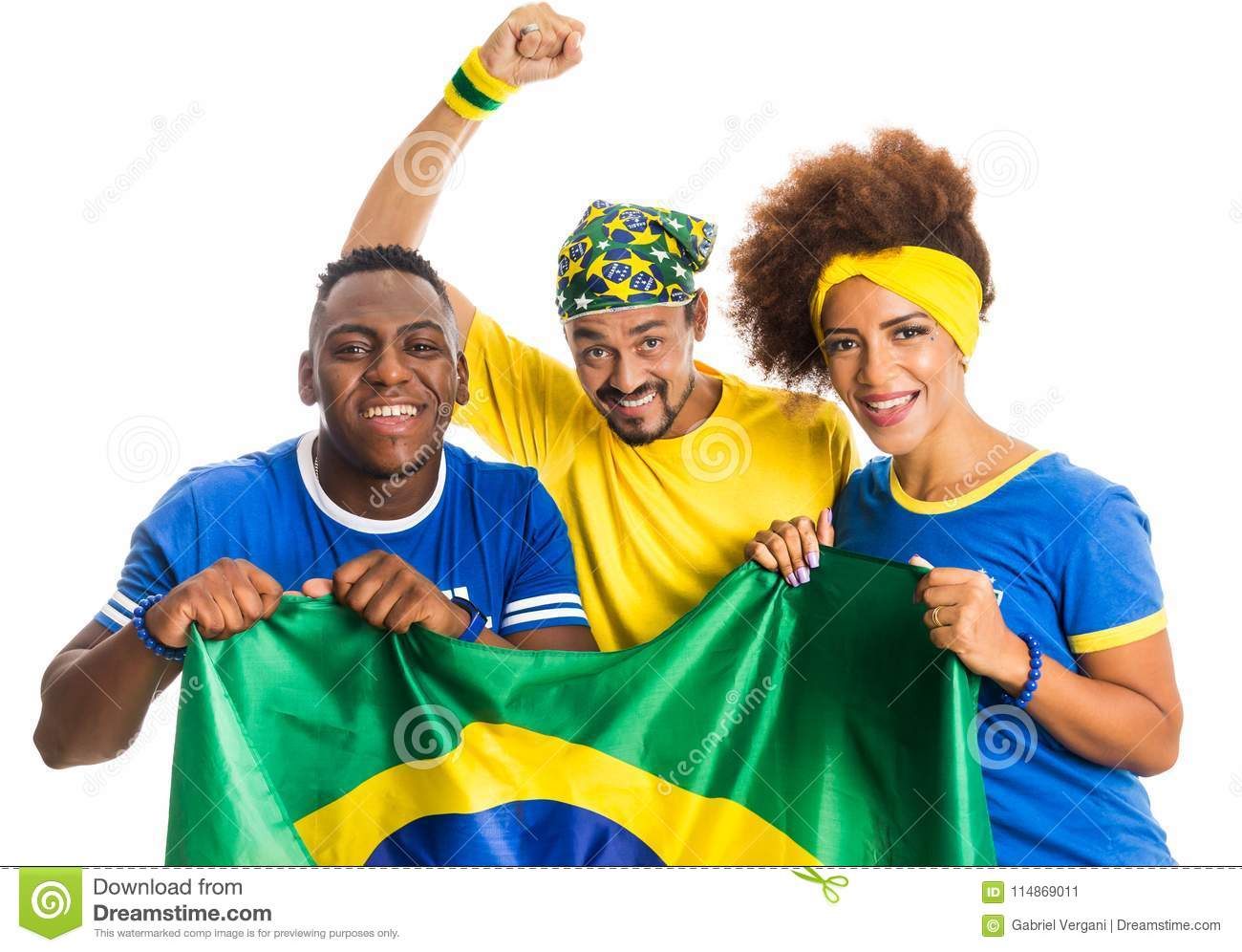 Brazilian group of fans celebrating on football match on white b
