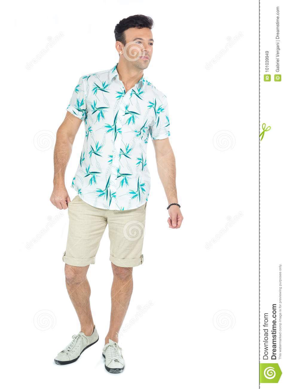 2a48d06c6cf Handsome Brazilian Male Wears Floral Shirt. Stock Image - Image of ...