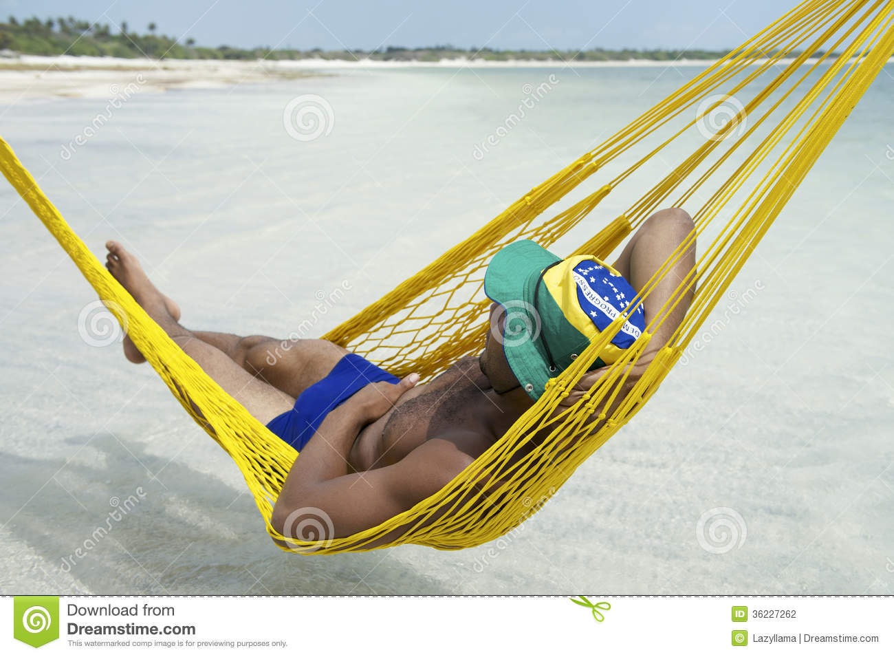 brazilian man relaxing in beach hammock brazil brazilian man relaxing in beach hammock brazil stock photo   image      rh   dreamstime