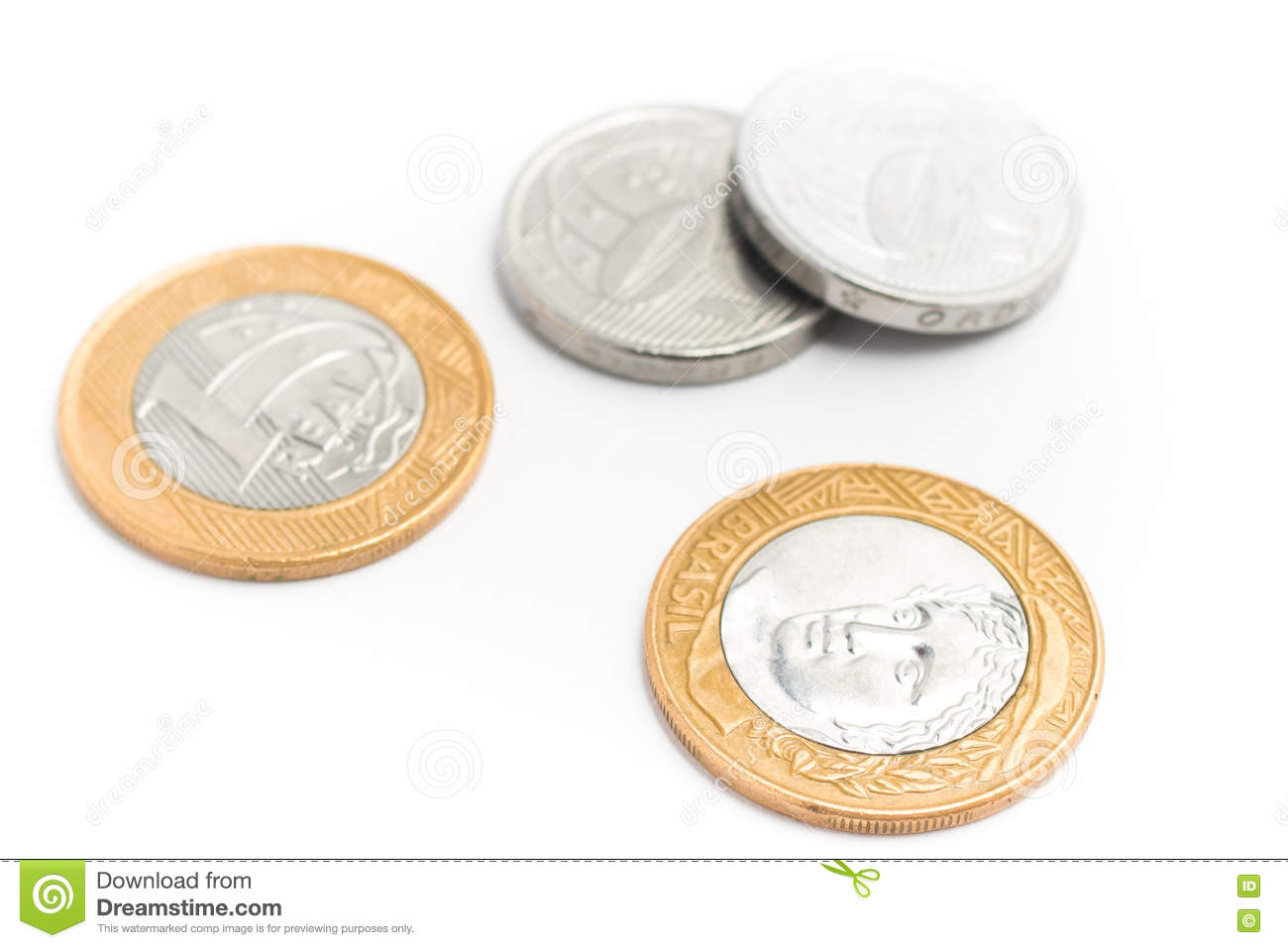 Brazilian Money. Coins of One Real and Fifty cents on white back