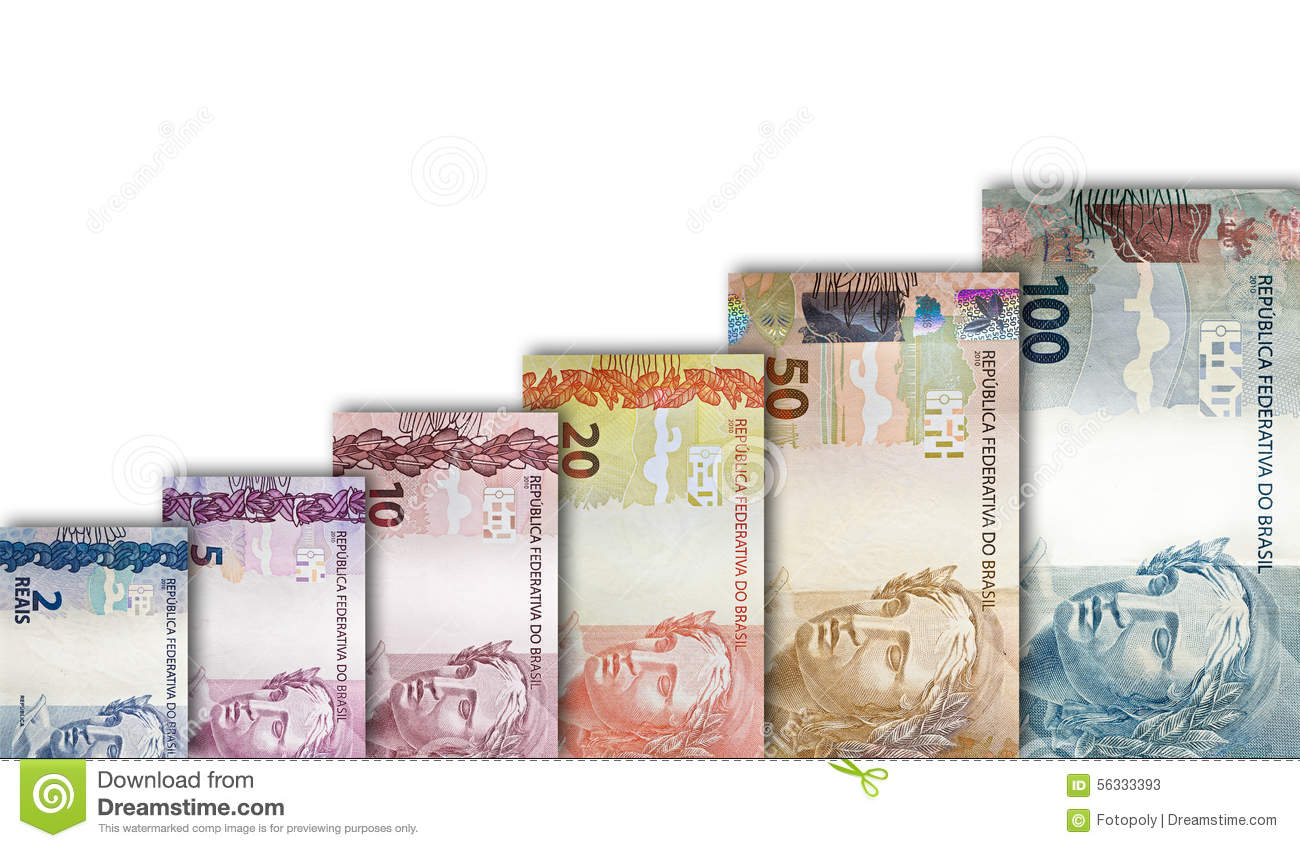 brazilian real paper bill growth graph stock image