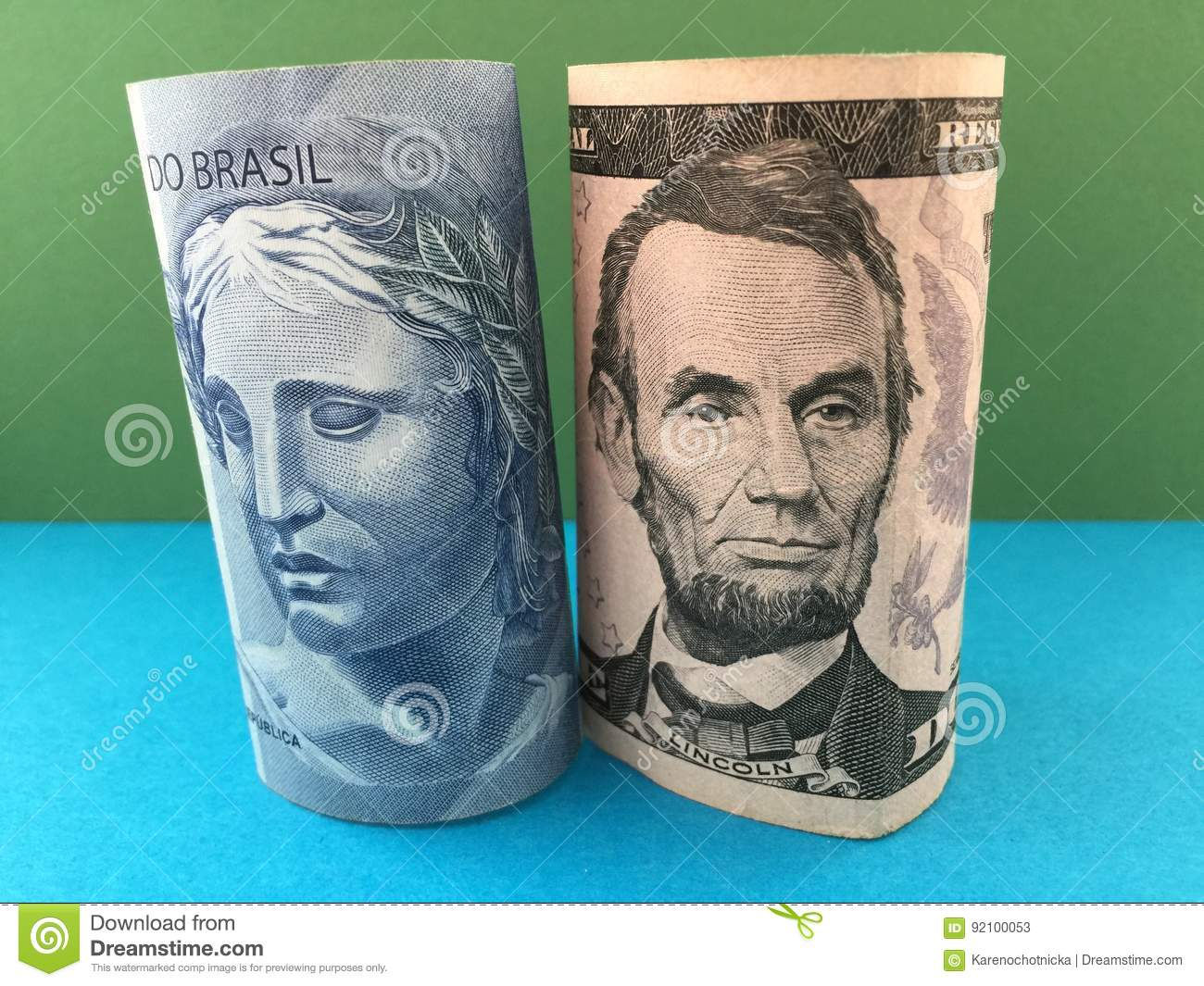 Brazilian Real Versus US Dollar Stock Image - Image of federal, currency: 92100053