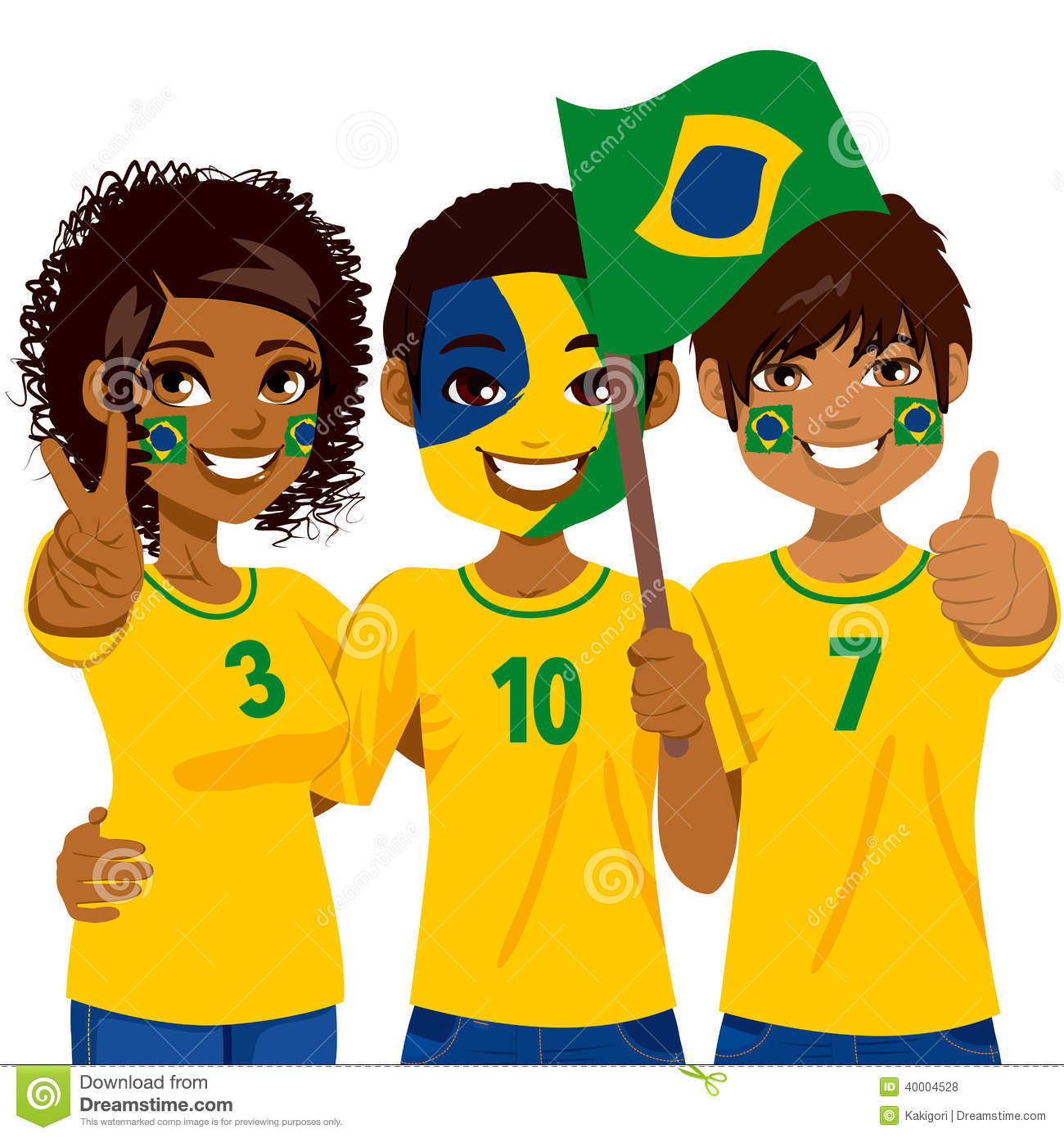 brazilian soccer fans stock vector illustration of enthusiastic rh dreamstime com football fans clipart